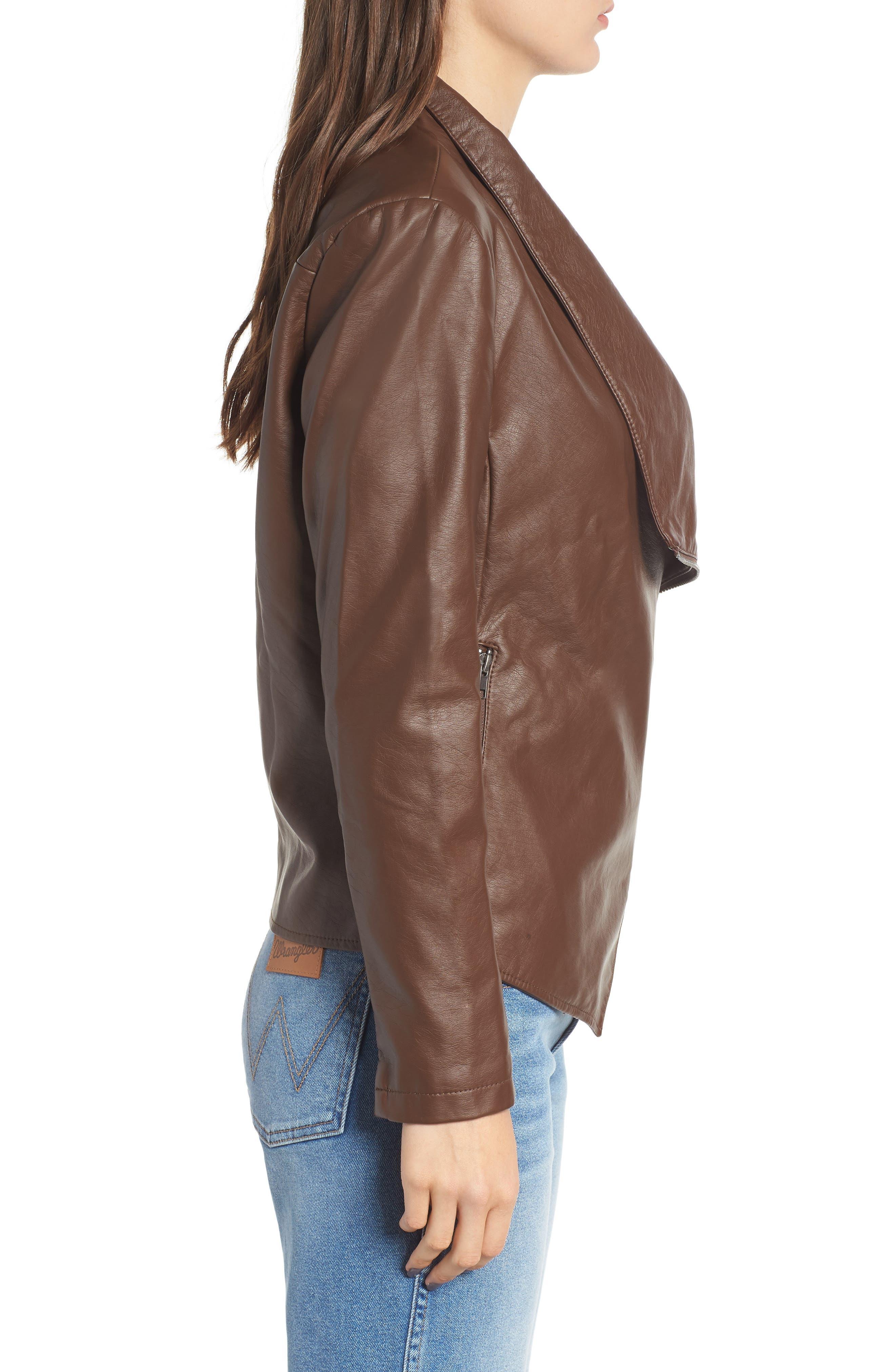 Gabrielle Faux Leather Asymmetrical Jacket,                             Alternate thumbnail 3, color,                             202