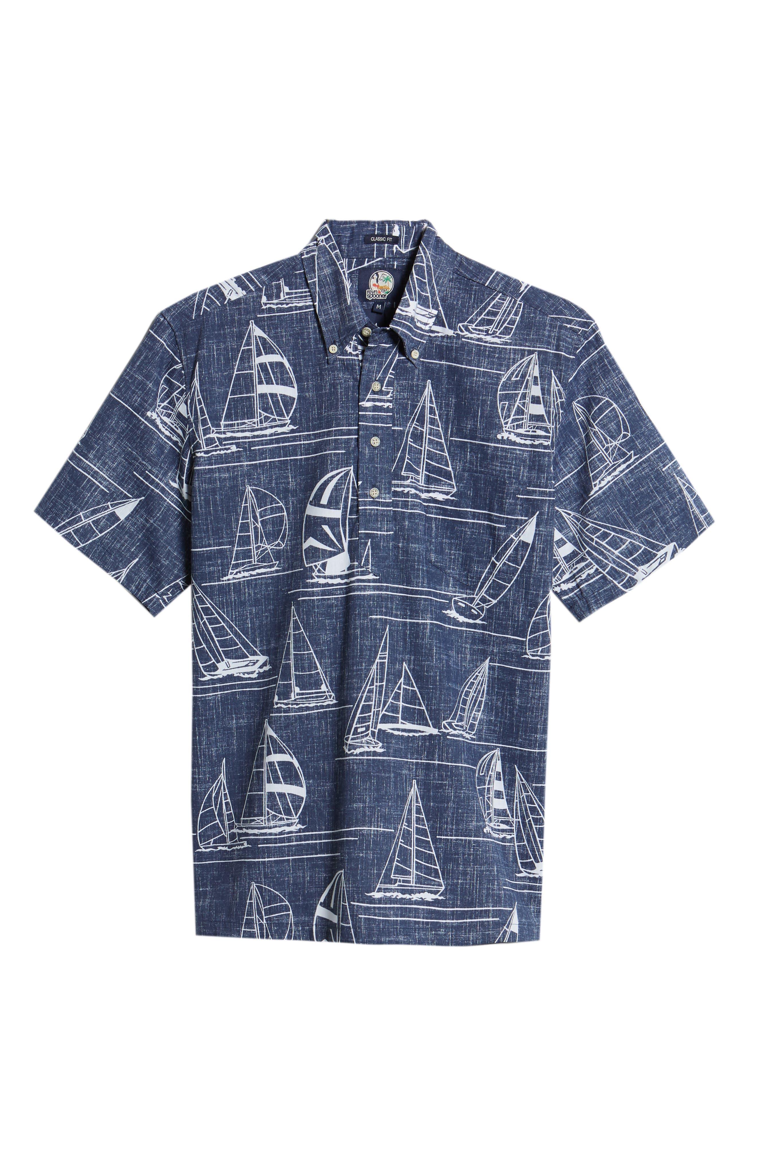 Newport 2 Honolulu Classic Fit Print Sport Shirt,                             Alternate thumbnail 6, color,                             INK