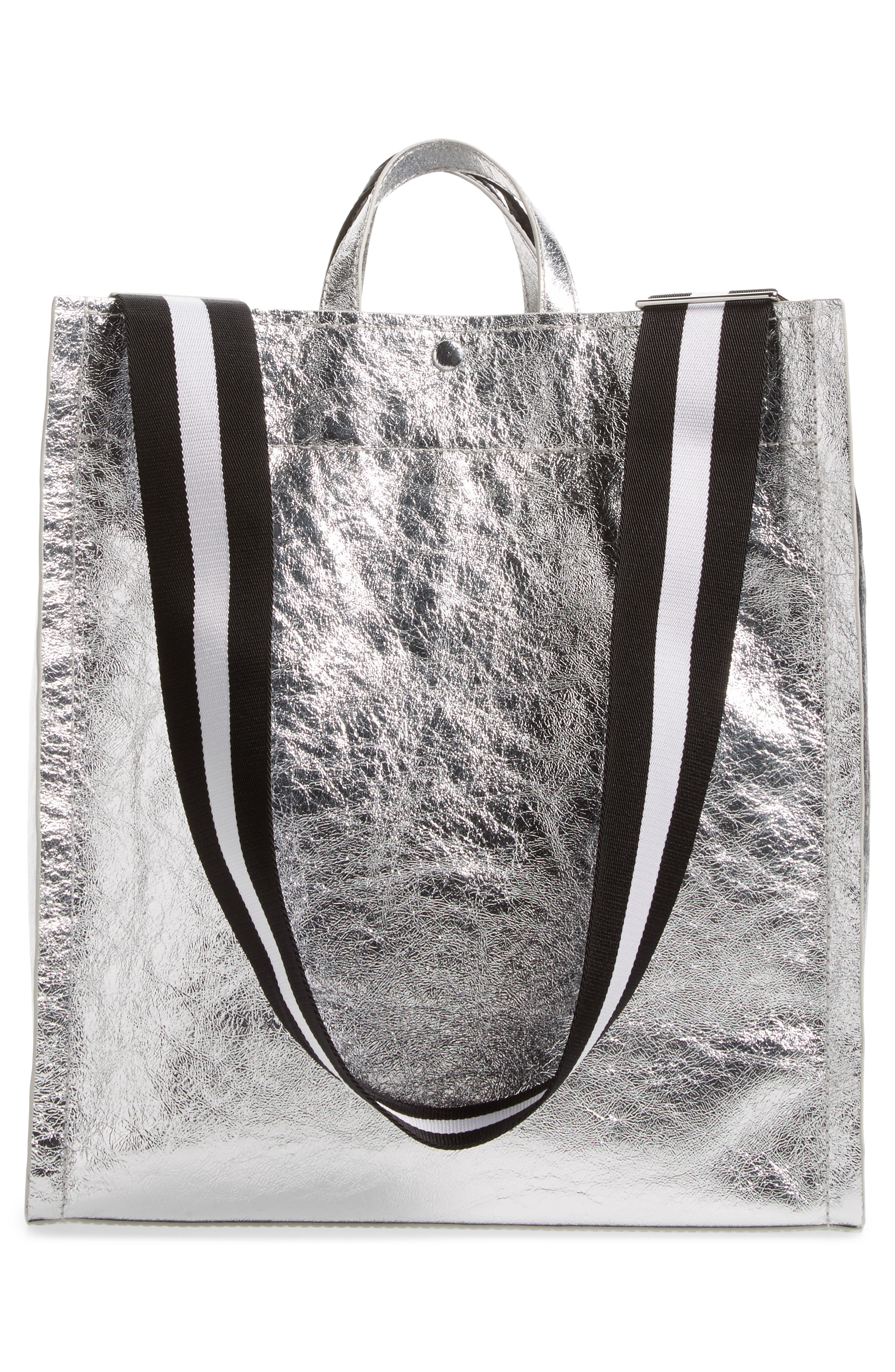 Leather Accordion Tote,                             Alternate thumbnail 3, color,                             040