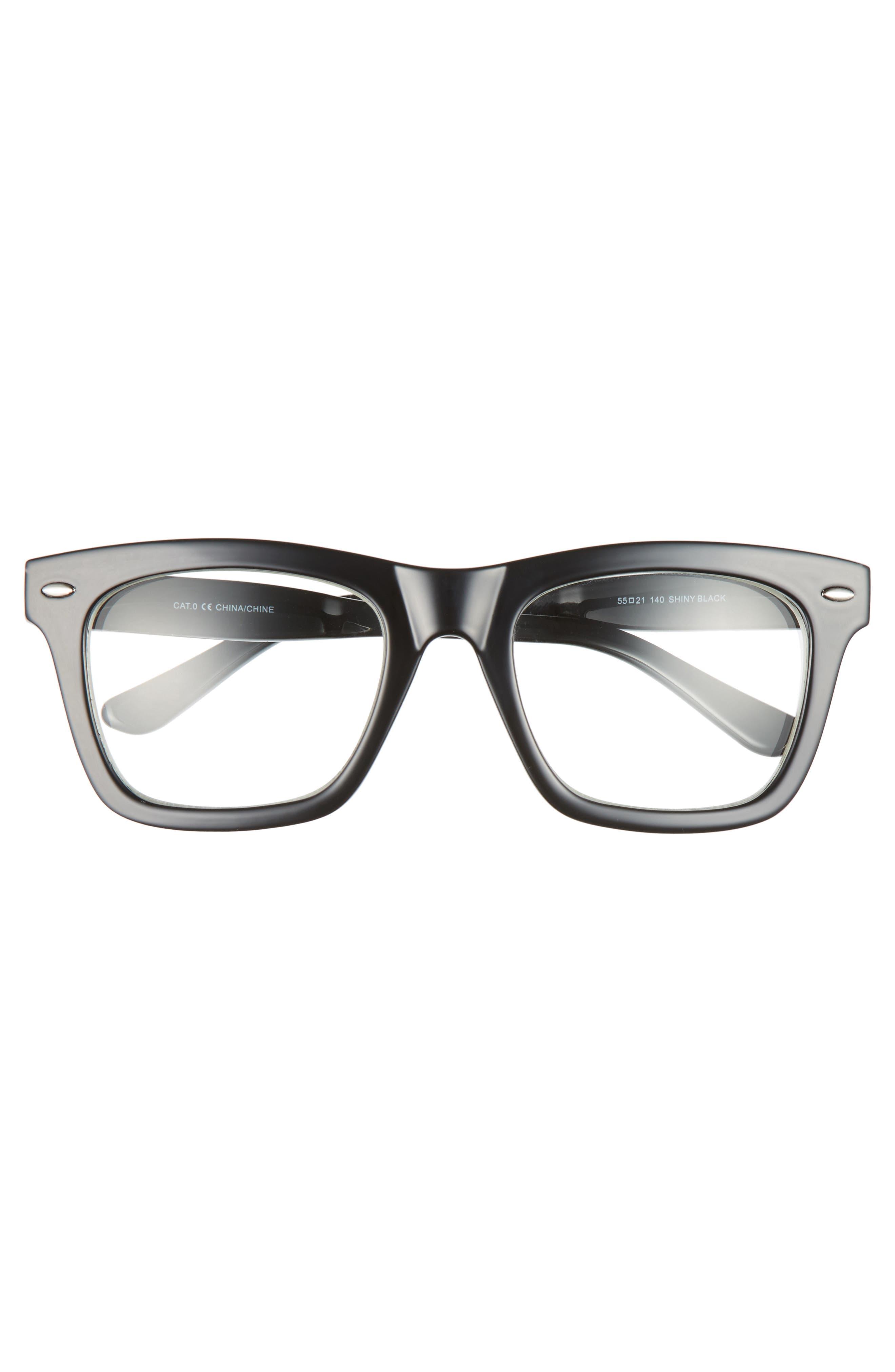 Julian 55mm Square Sunglasses,                             Alternate thumbnail 2, color,                             BLACK/ CLEAR