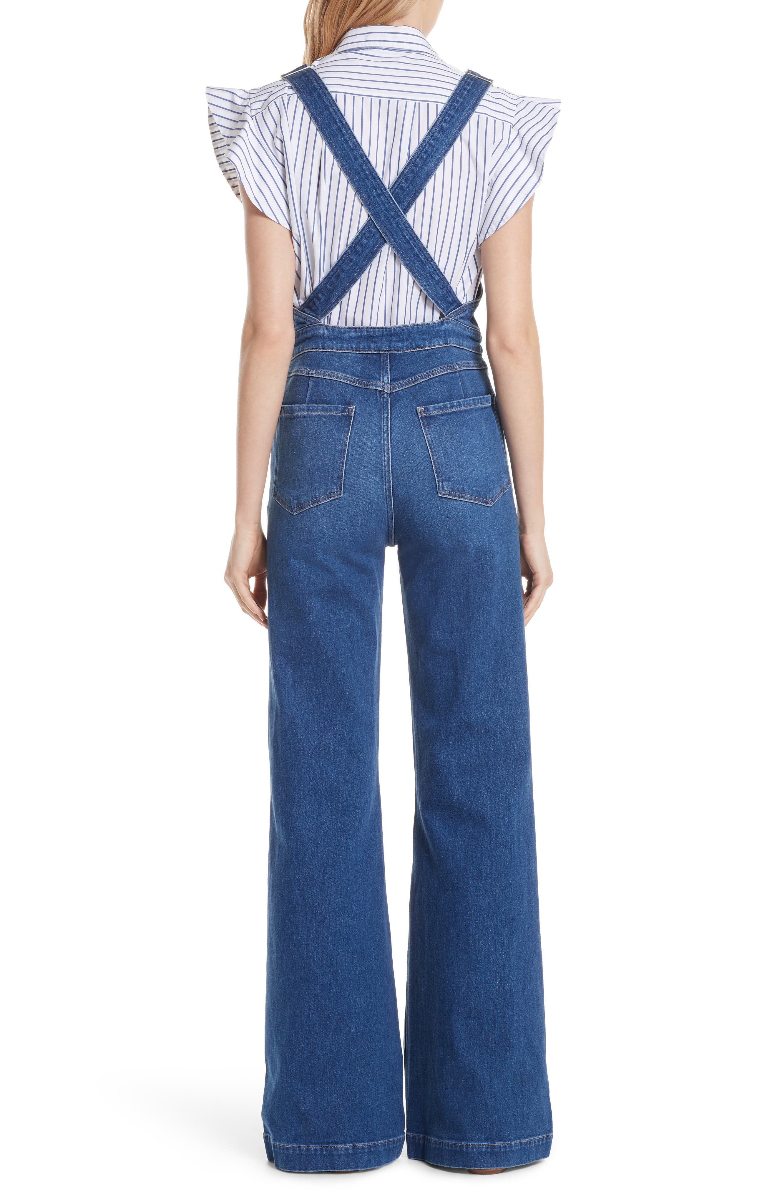 FRAME,                             Palazzo Wide Leg Denim Overalls,                             Alternate thumbnail 2, color,                             420