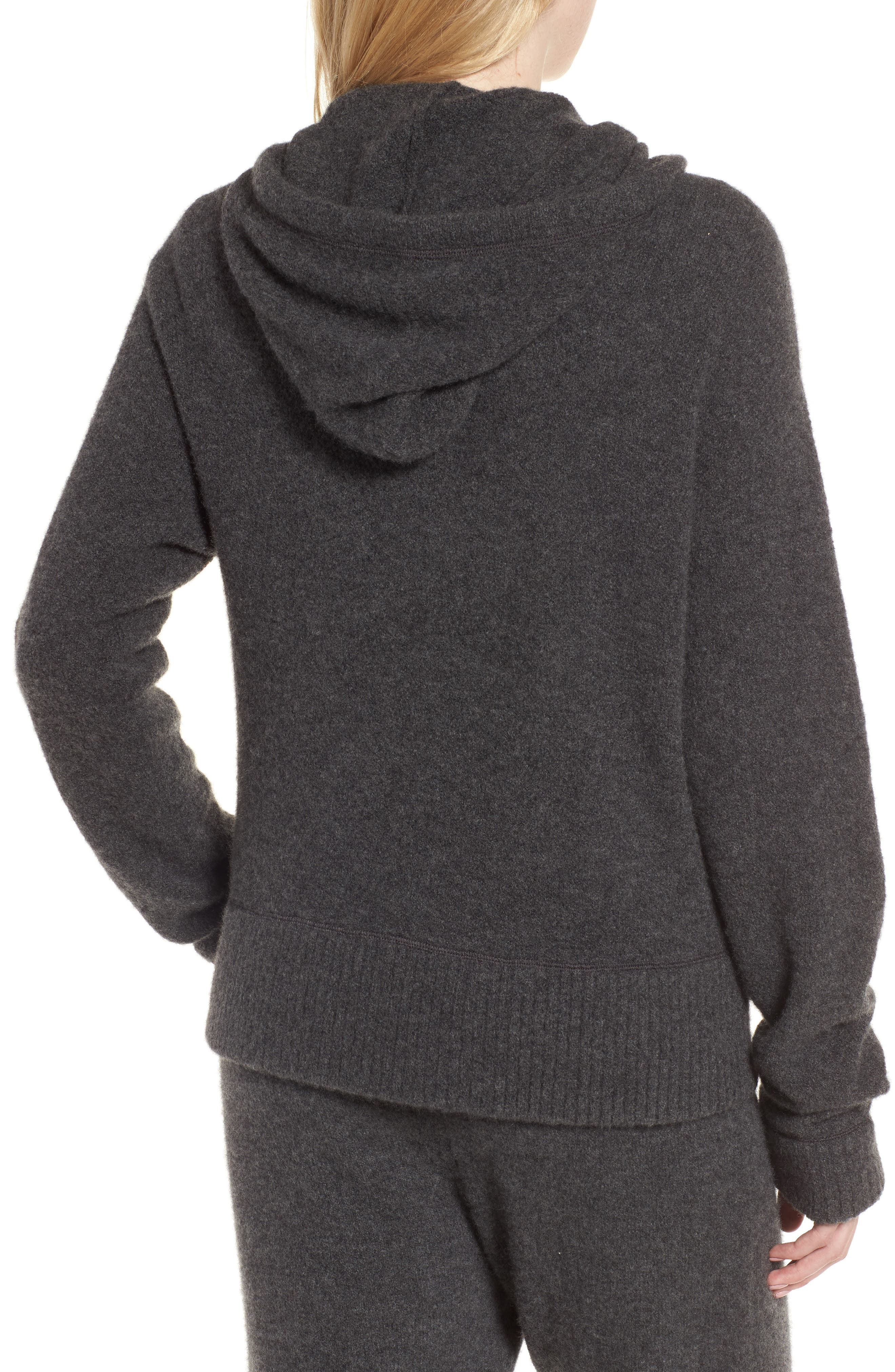 Brushed Cashmere Zip Hoodie,                             Alternate thumbnail 2, color,