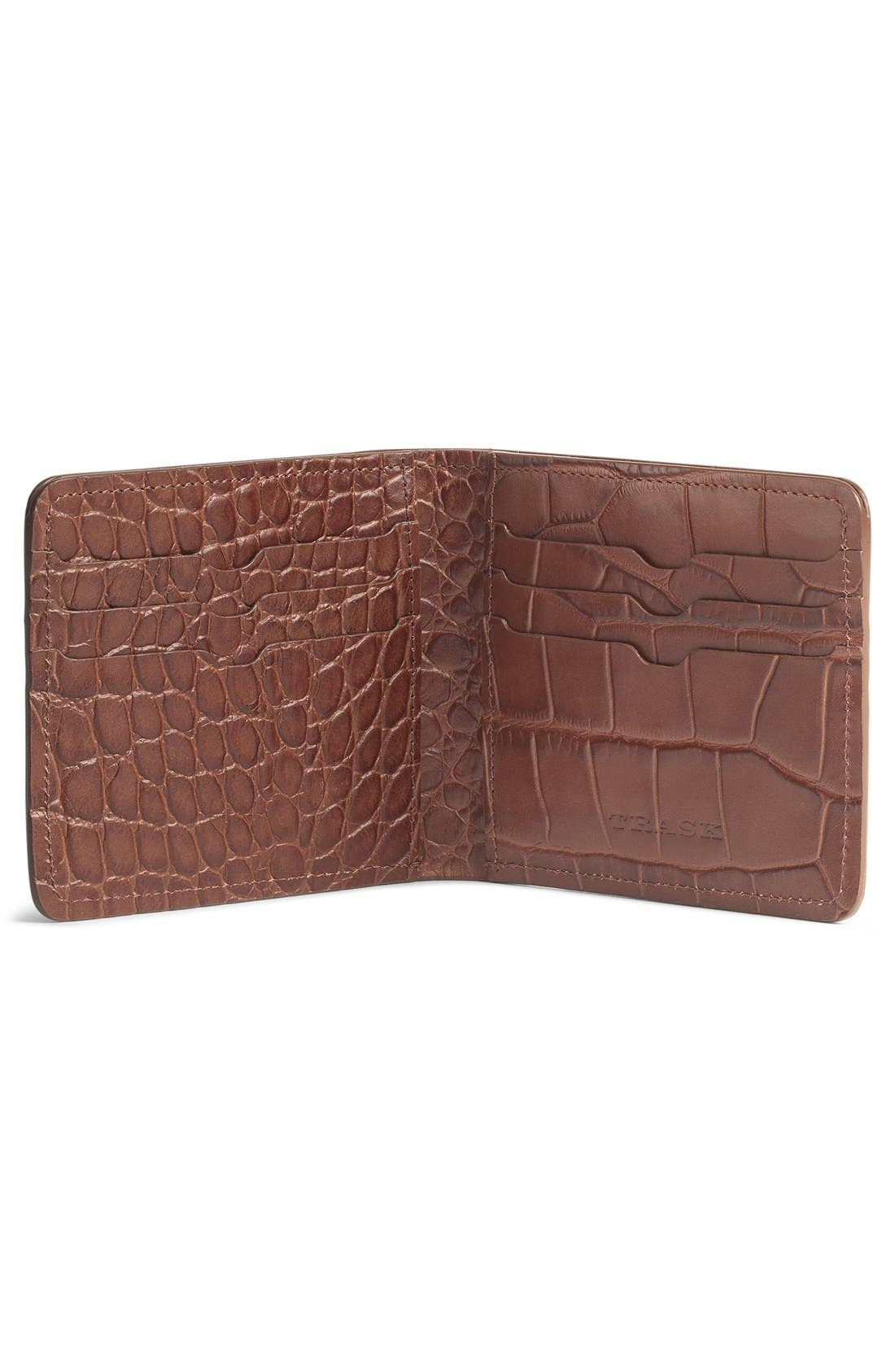 'Jackson' Slimfold Embossed Leather Wallet,                             Alternate thumbnail 4, color,                             SCOTCH