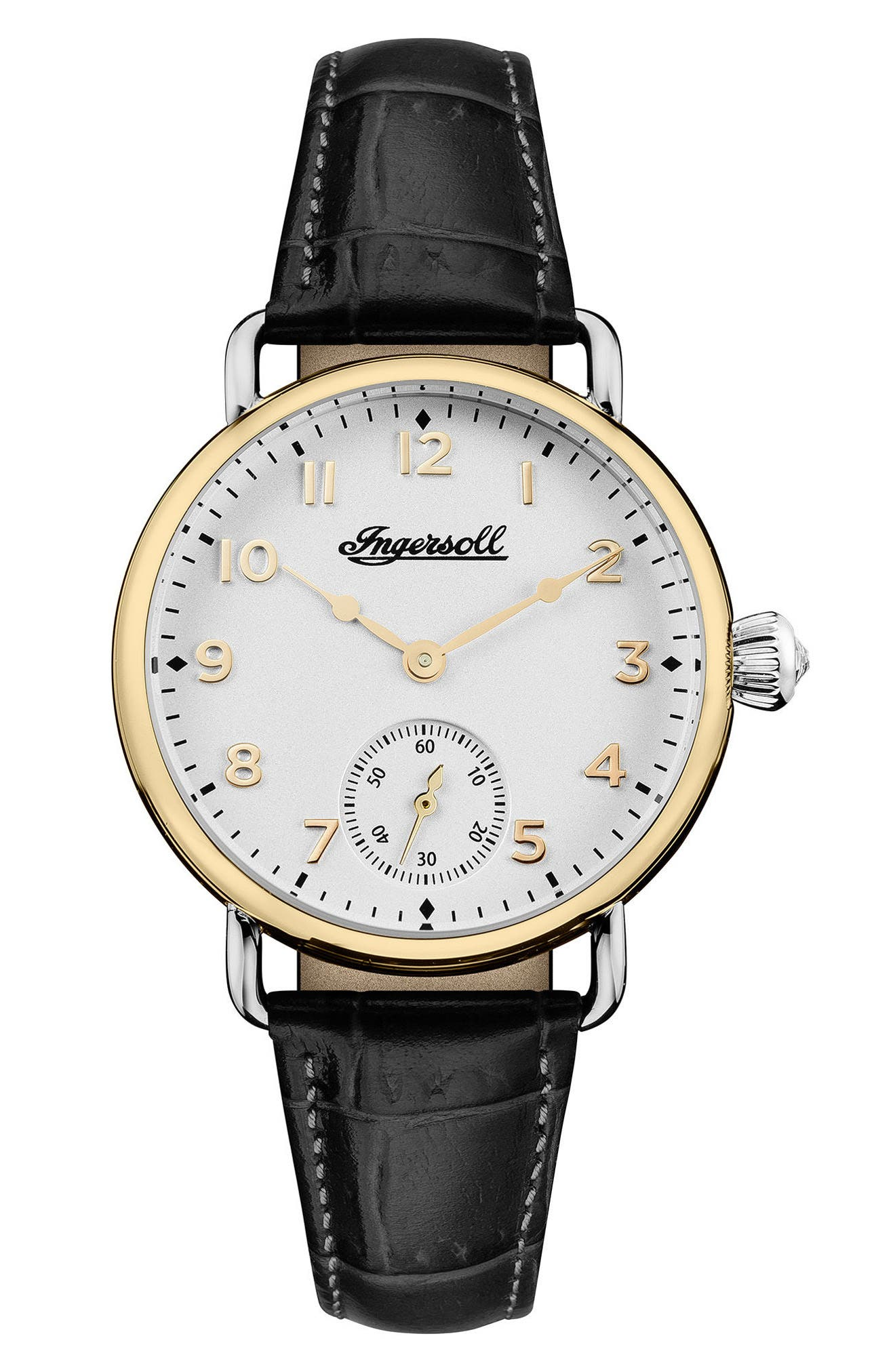 Ingersoll Trenton Leather Strap Watch, 34mm,                             Main thumbnail 1, color,                             BLACK/ WHITE/ GOLD