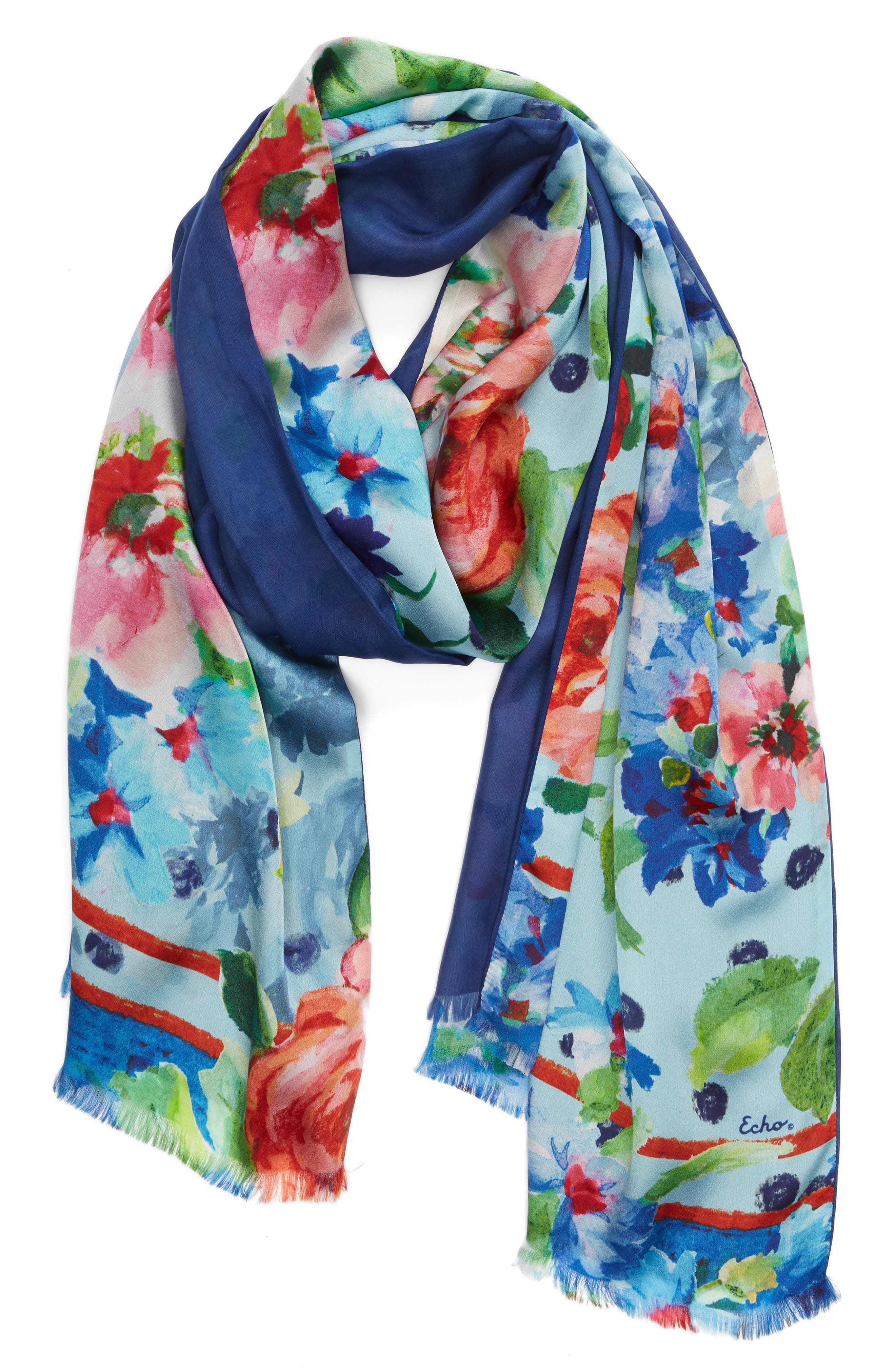 Springtime Double-Face Silk Scarf,                             Alternate thumbnail 2, color,                             425