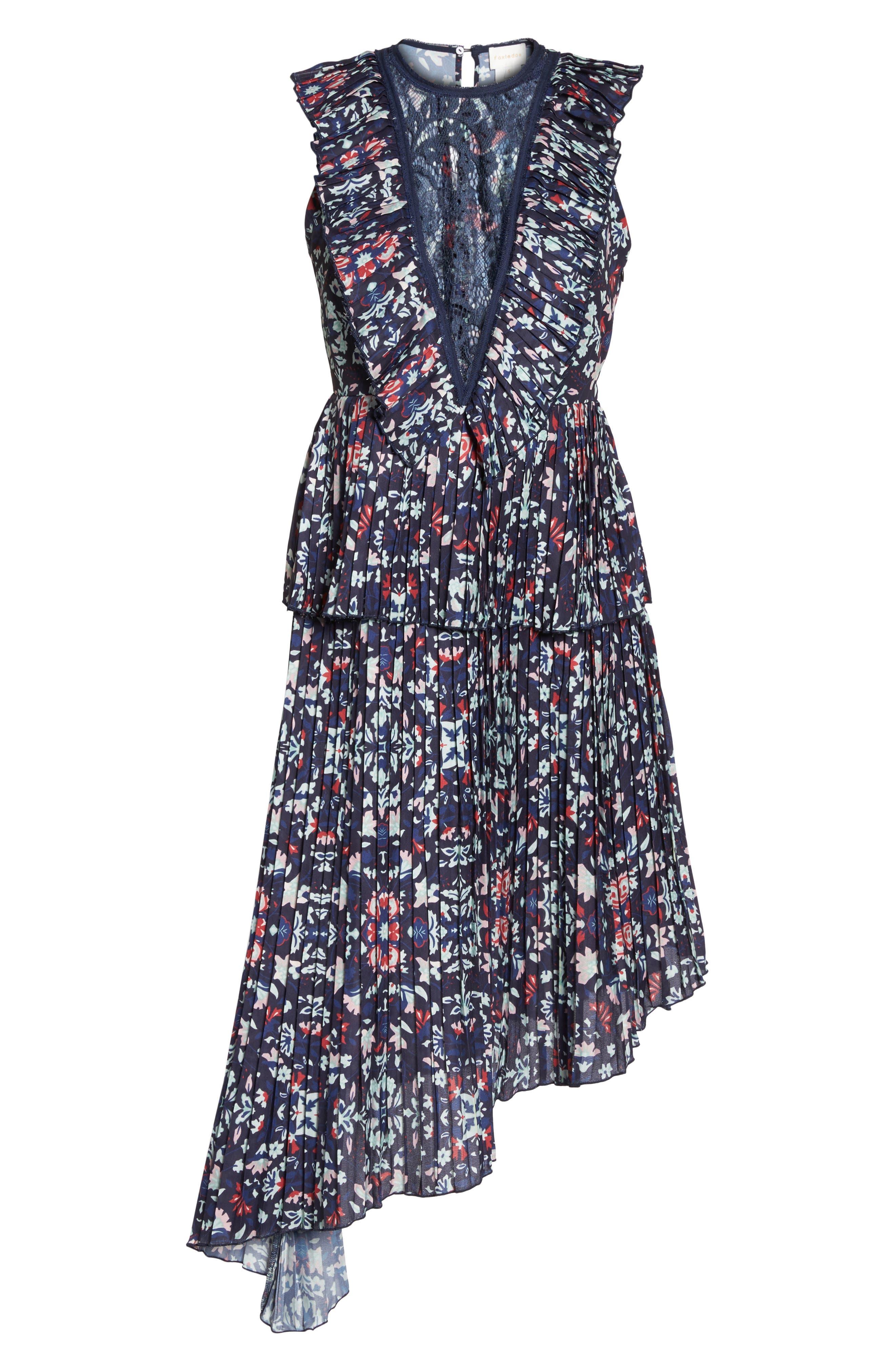 Miranda Pleat Ruffle Dress,                             Alternate thumbnail 6, color,                             400