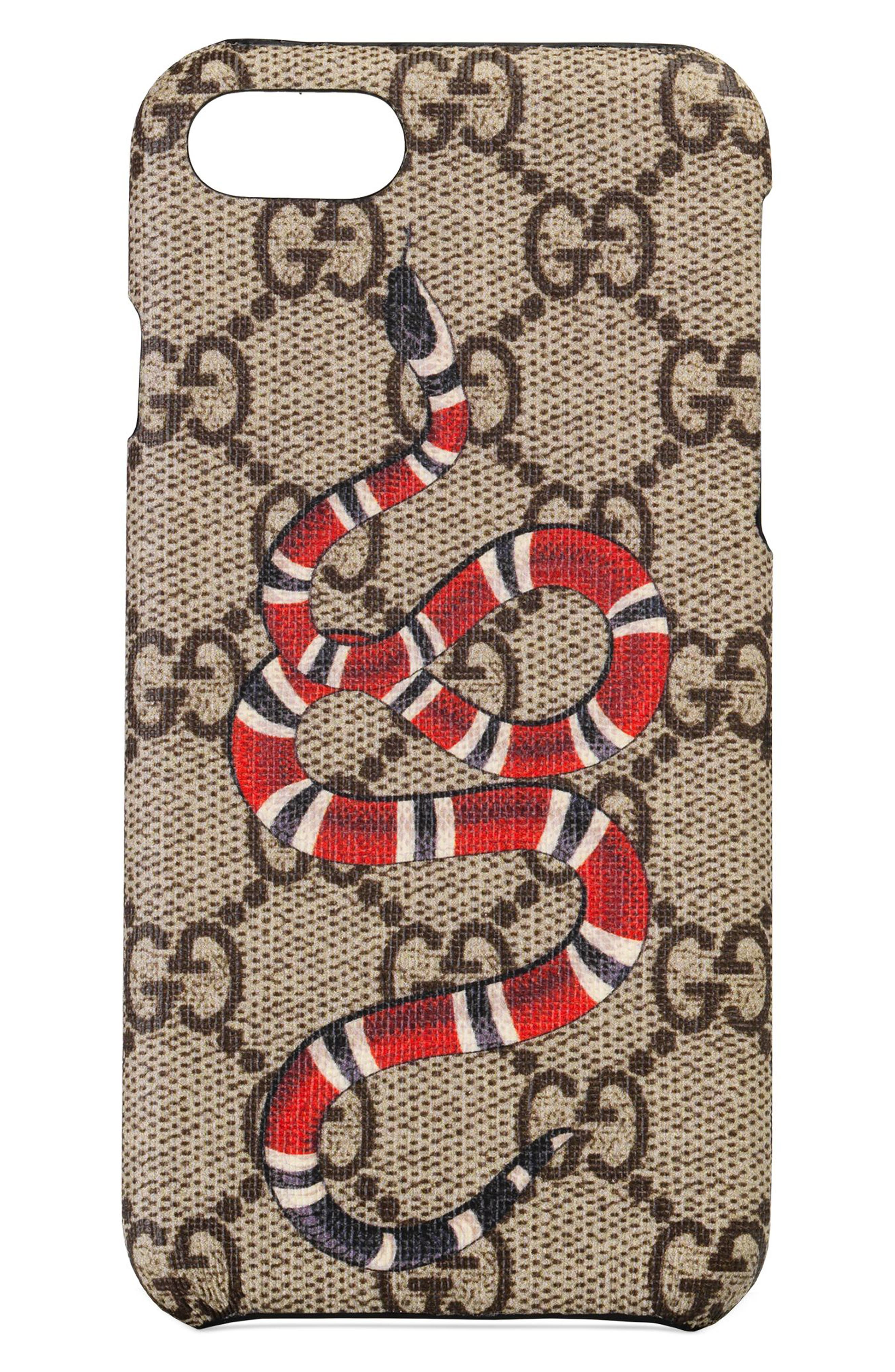 GG Supreme Snake iPhone 8 Case,                             Main thumbnail 1, color,                             BEIGE