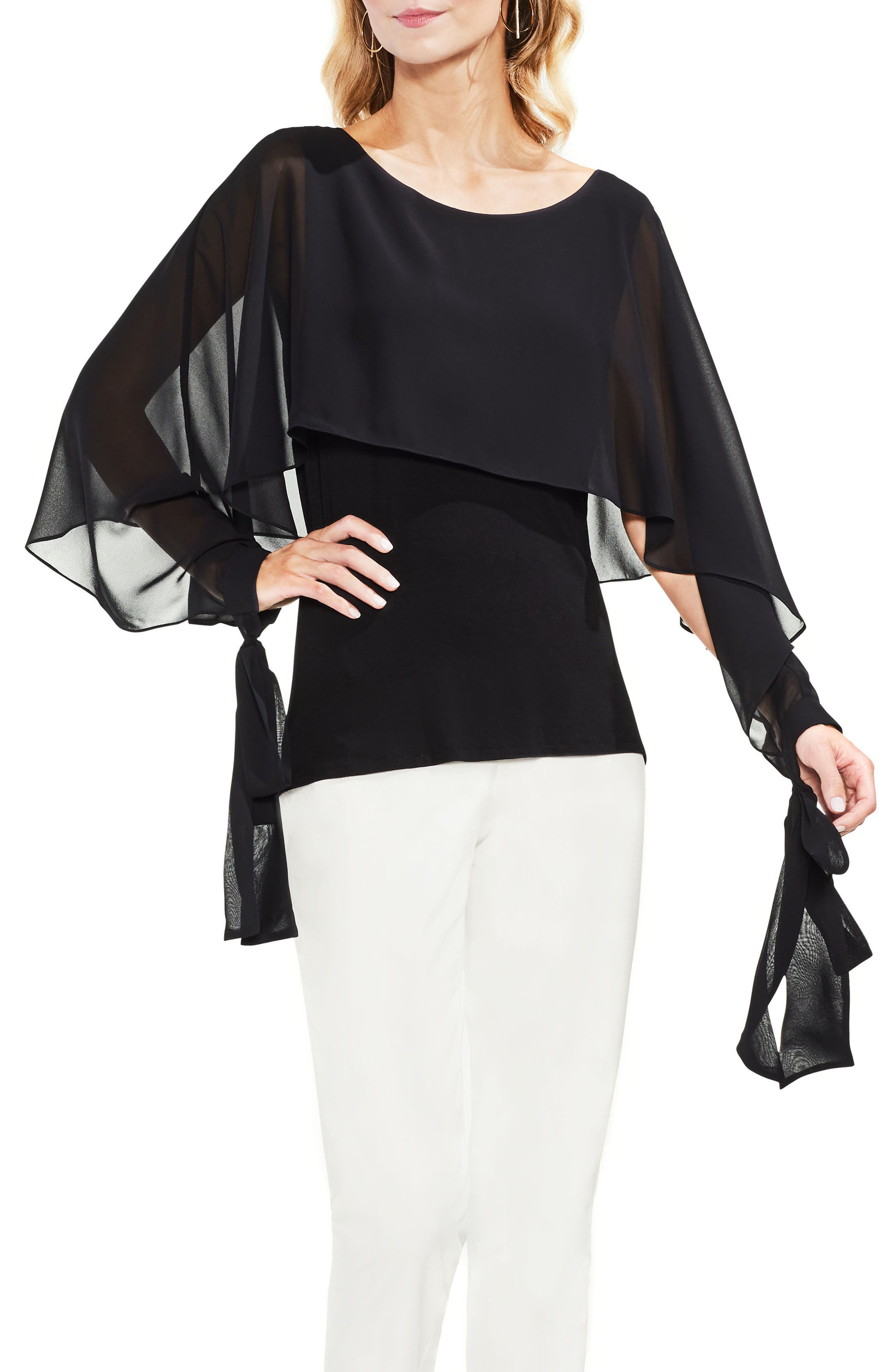 Tie Cuff Chiffon Overlay Blouse,                             Main thumbnail 1, color,