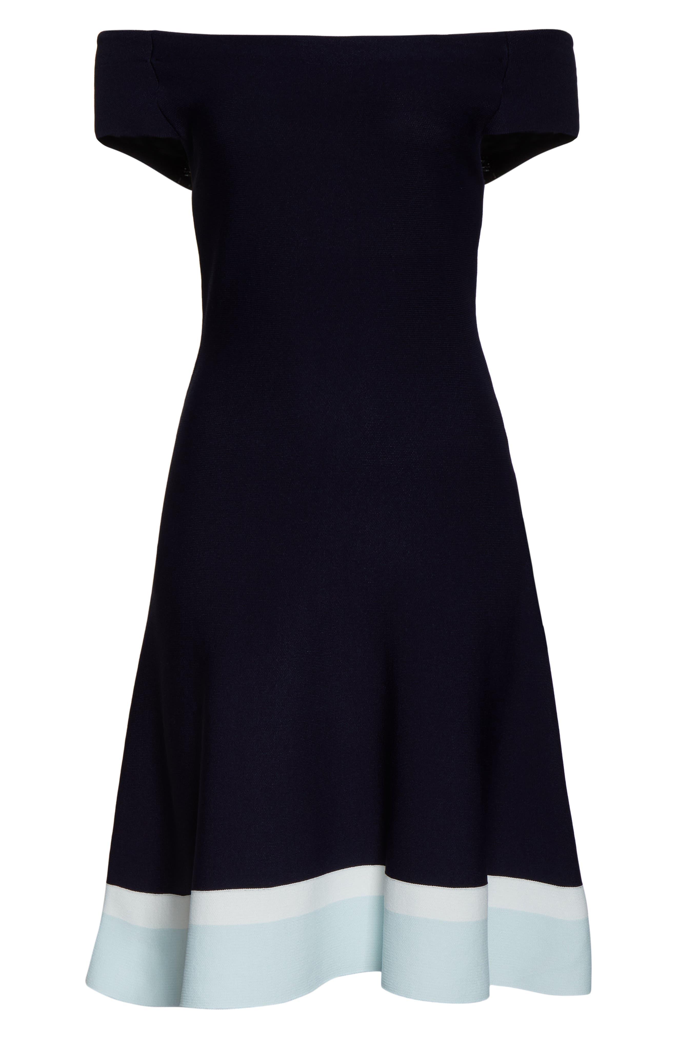 ELIZA J,                             Fit & Flare Knit Dress,                             Alternate thumbnail 7, color,                             BABY BLUE MULTI