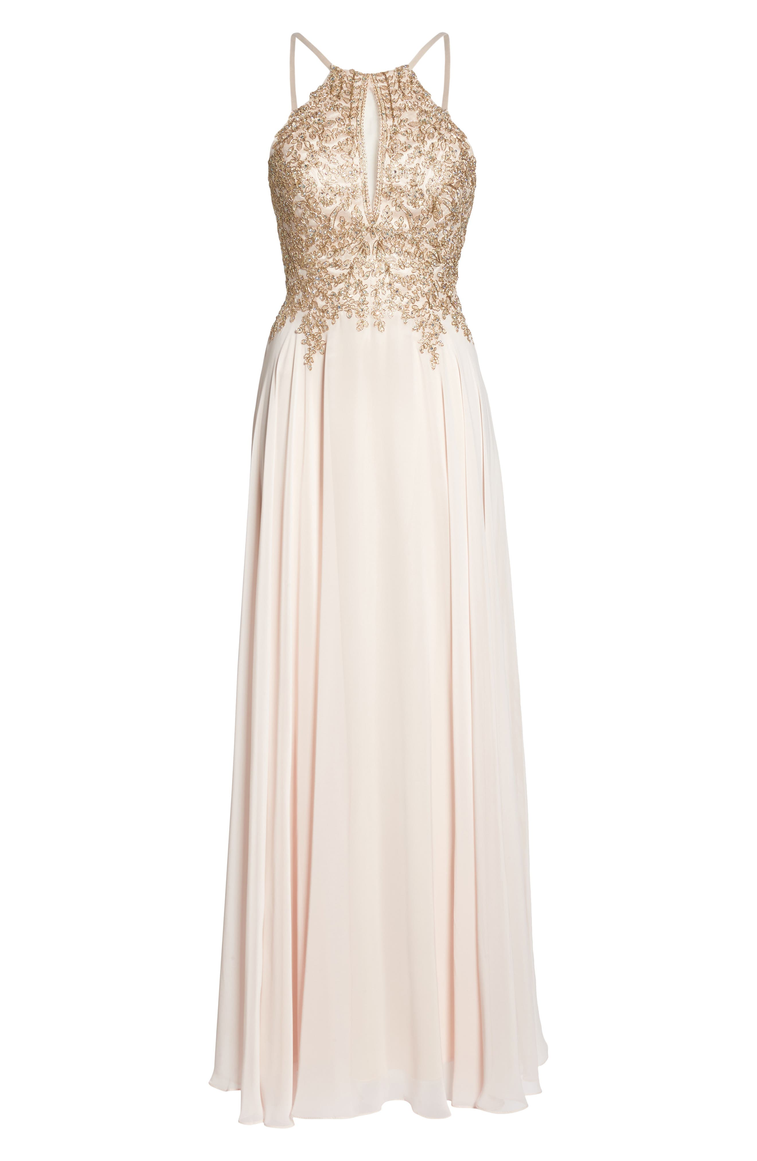 Embroidered Chiffon Halter Dress,                             Alternate thumbnail 6, color,                             BLUSH/ GOLD