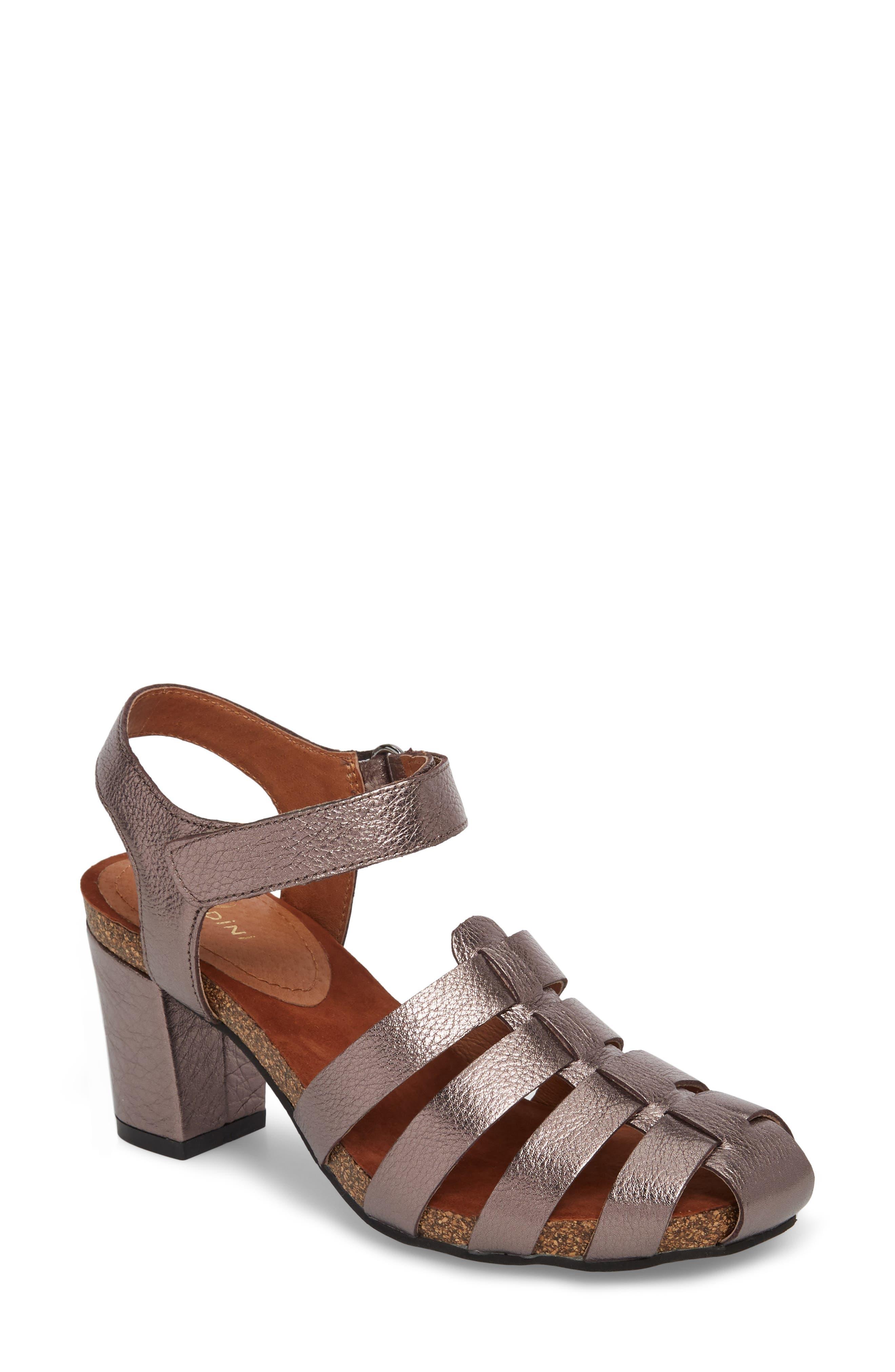 Sudini Carrara Block Heel Sandal W - Metallic