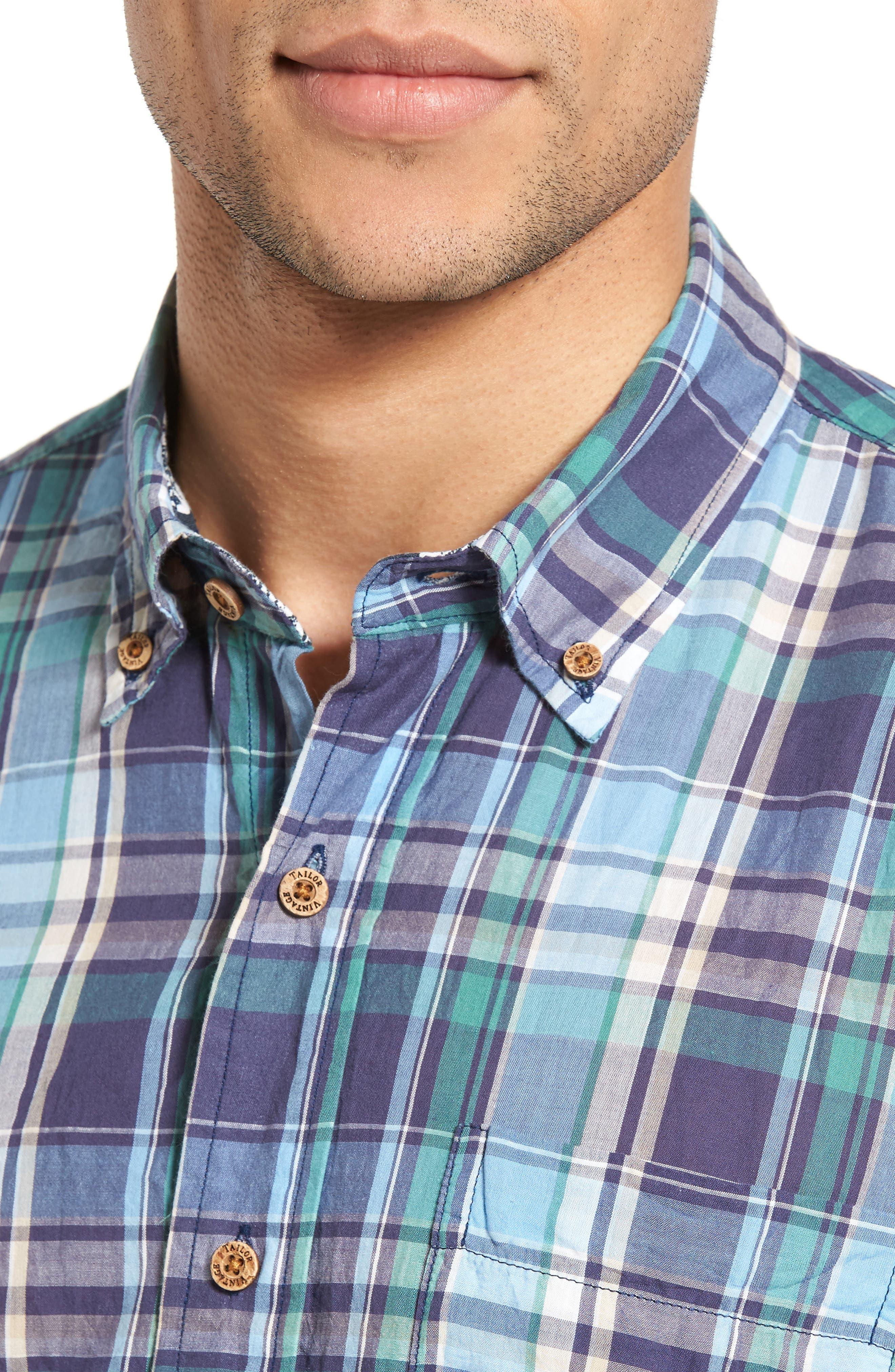 TAILOR VINTAGE,                             Crinkle Plaid Sport Shirt,                             Alternate thumbnail 4, color,                             424