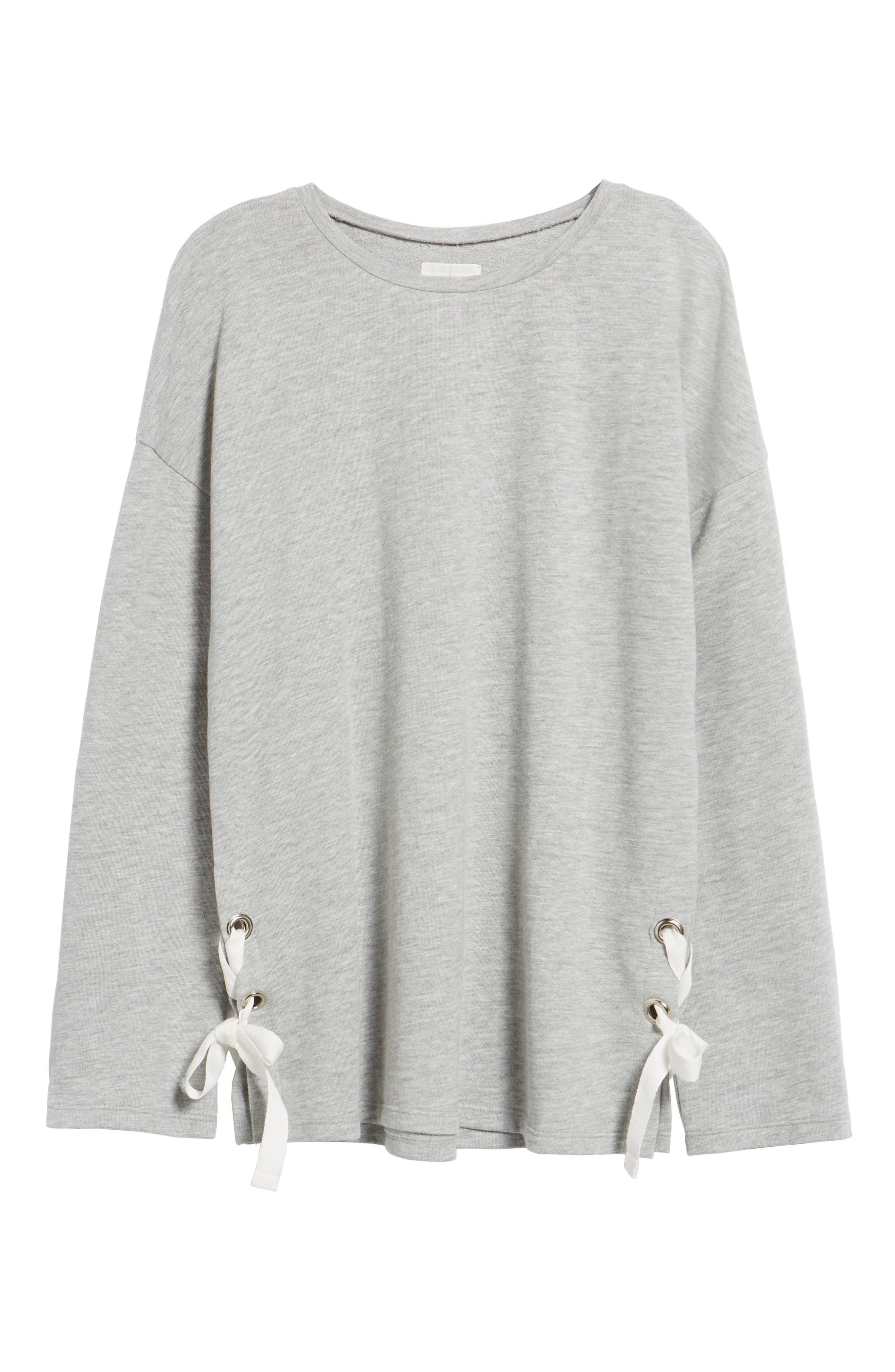 Lace-Up Side Sweatshirt,                             Alternate thumbnail 6, color,                             030