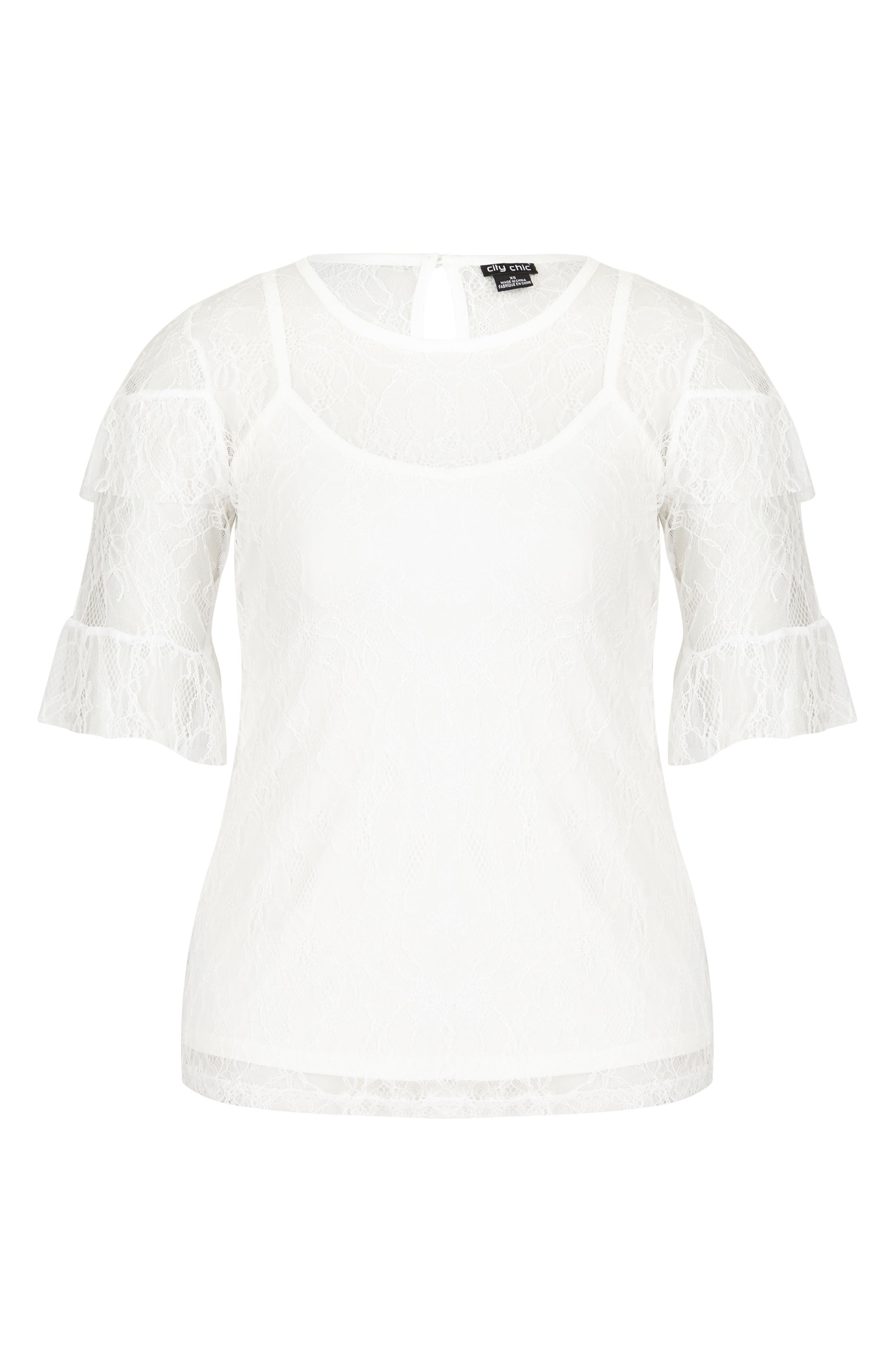 Lace Power Top,                             Alternate thumbnail 4, color,                             IVORY