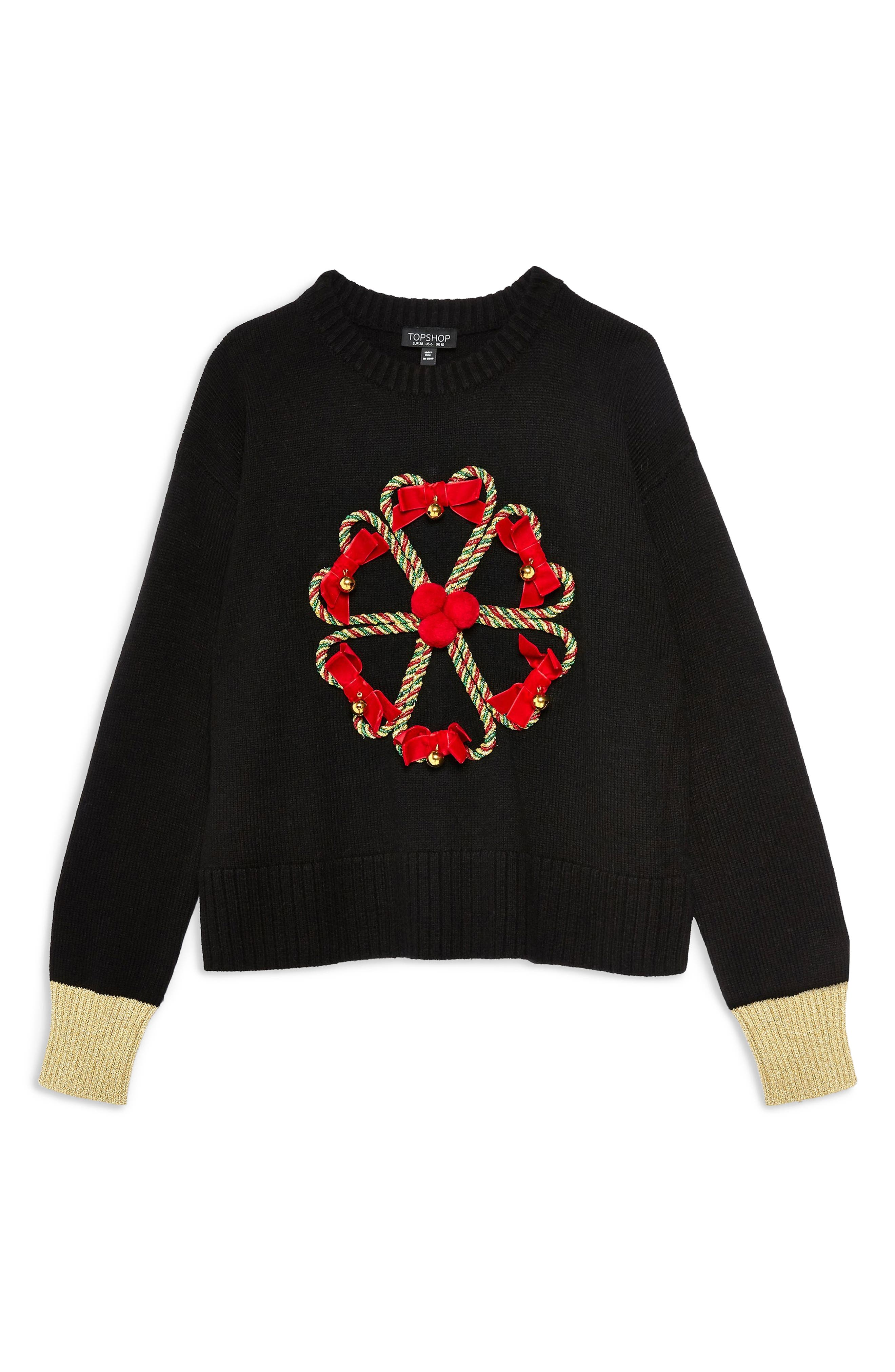 TOPSHOP,                             Christmas Candy Cane Wreath Sweater,                             Alternate thumbnail 3, color,                             001