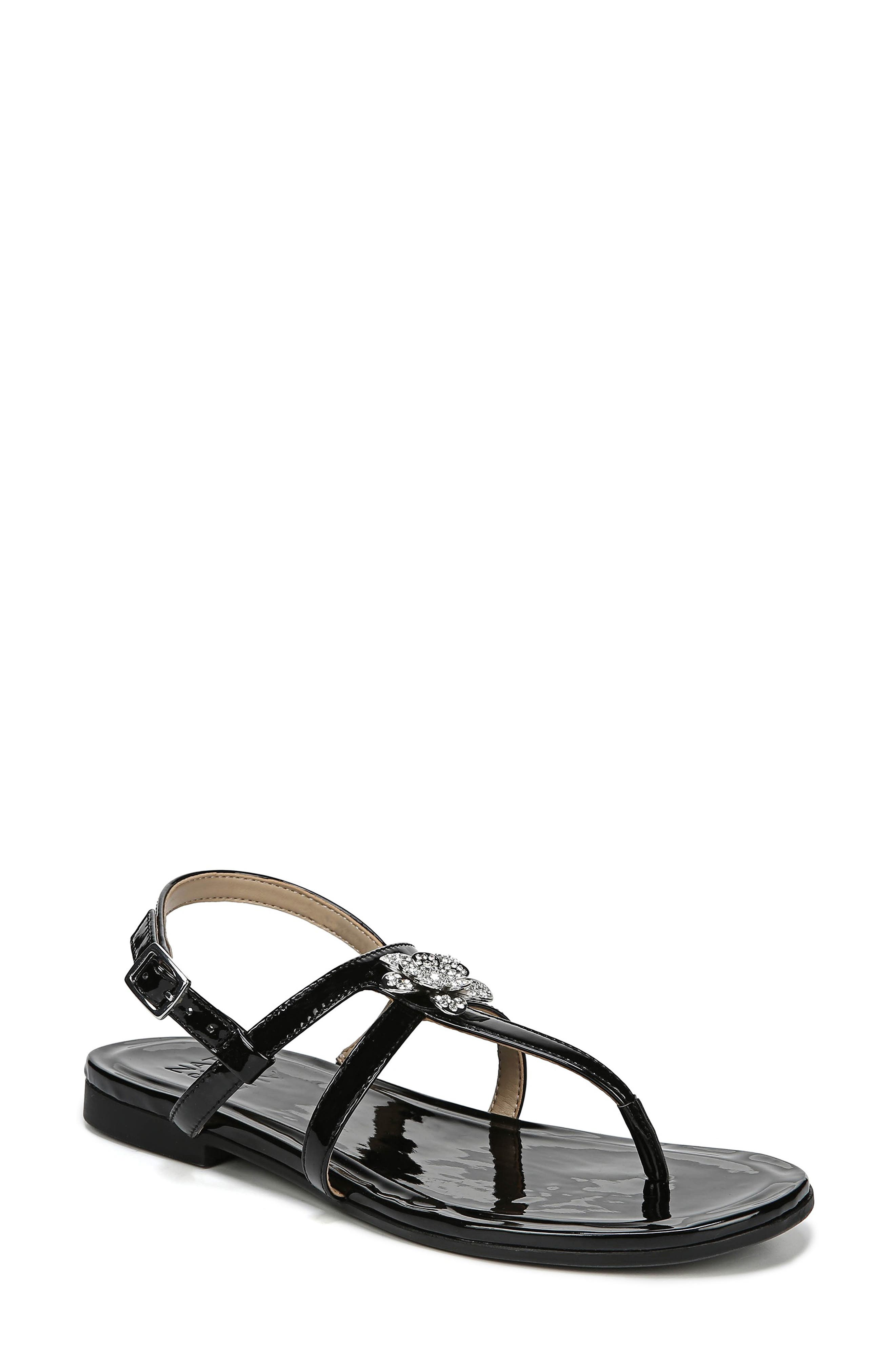 Tilly Embellished Sandal,                             Main thumbnail 1, color,                             BLACK PATENT FAUX LEATHER