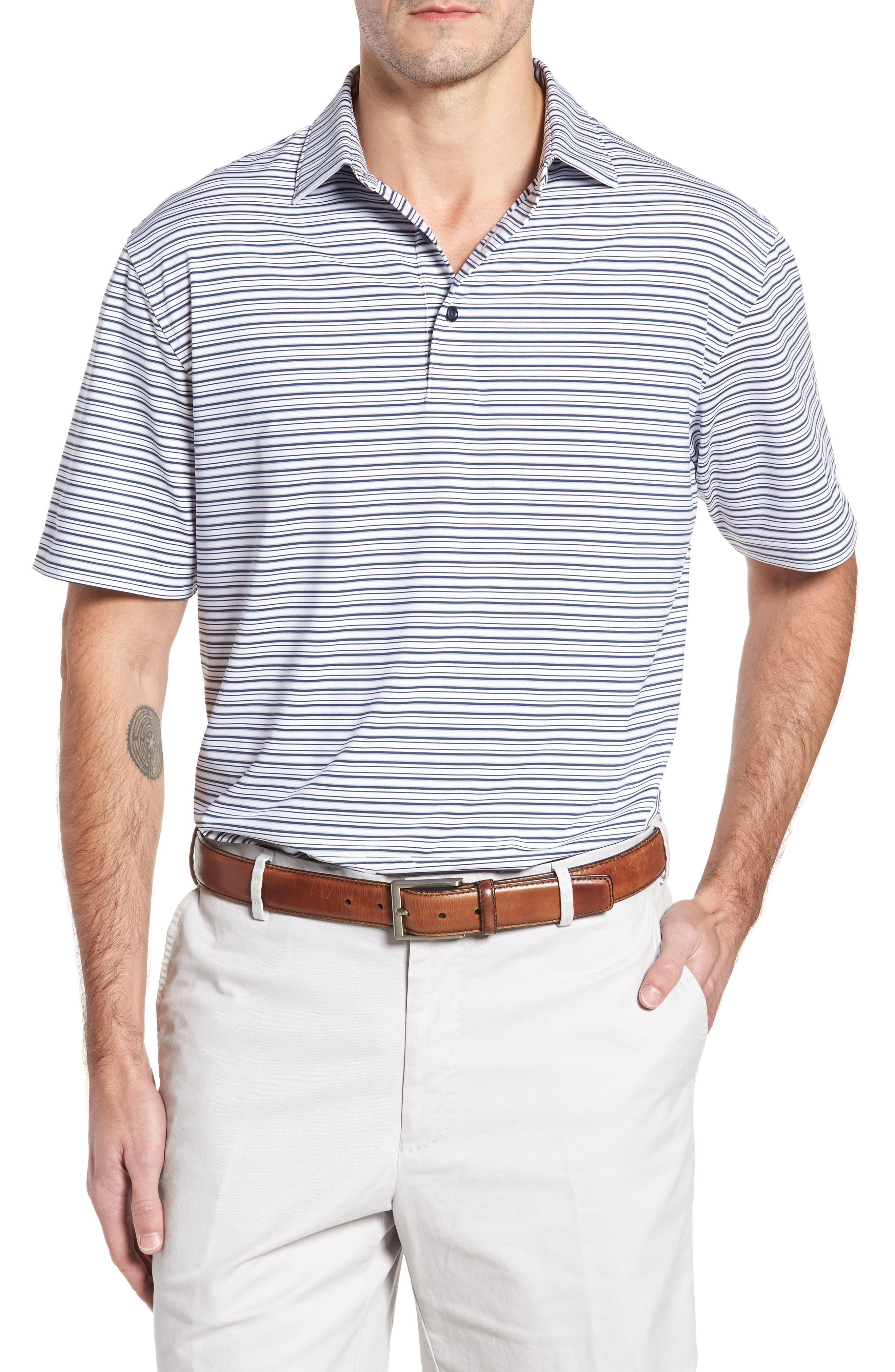 Barron Sean Stripe Jersey Polo,                         Main,                         color, 100