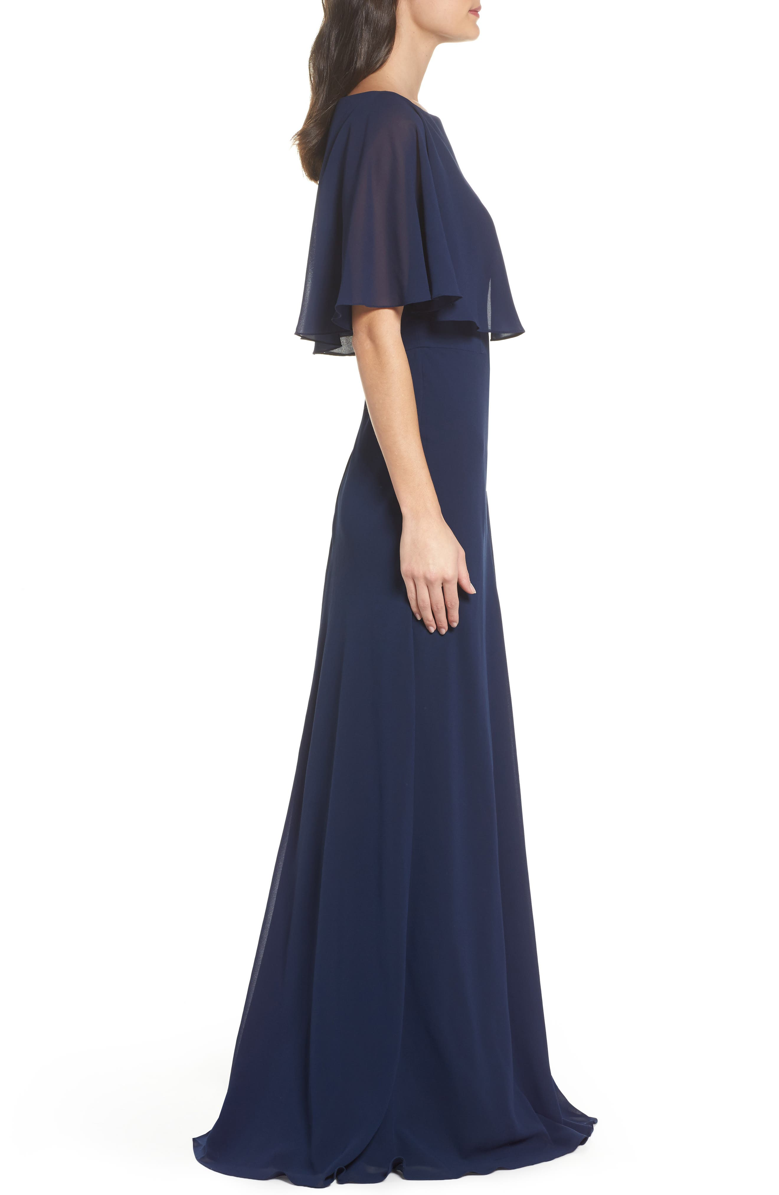 Popover Chiffon Gown,                             Alternate thumbnail 3, color,                             NAVY