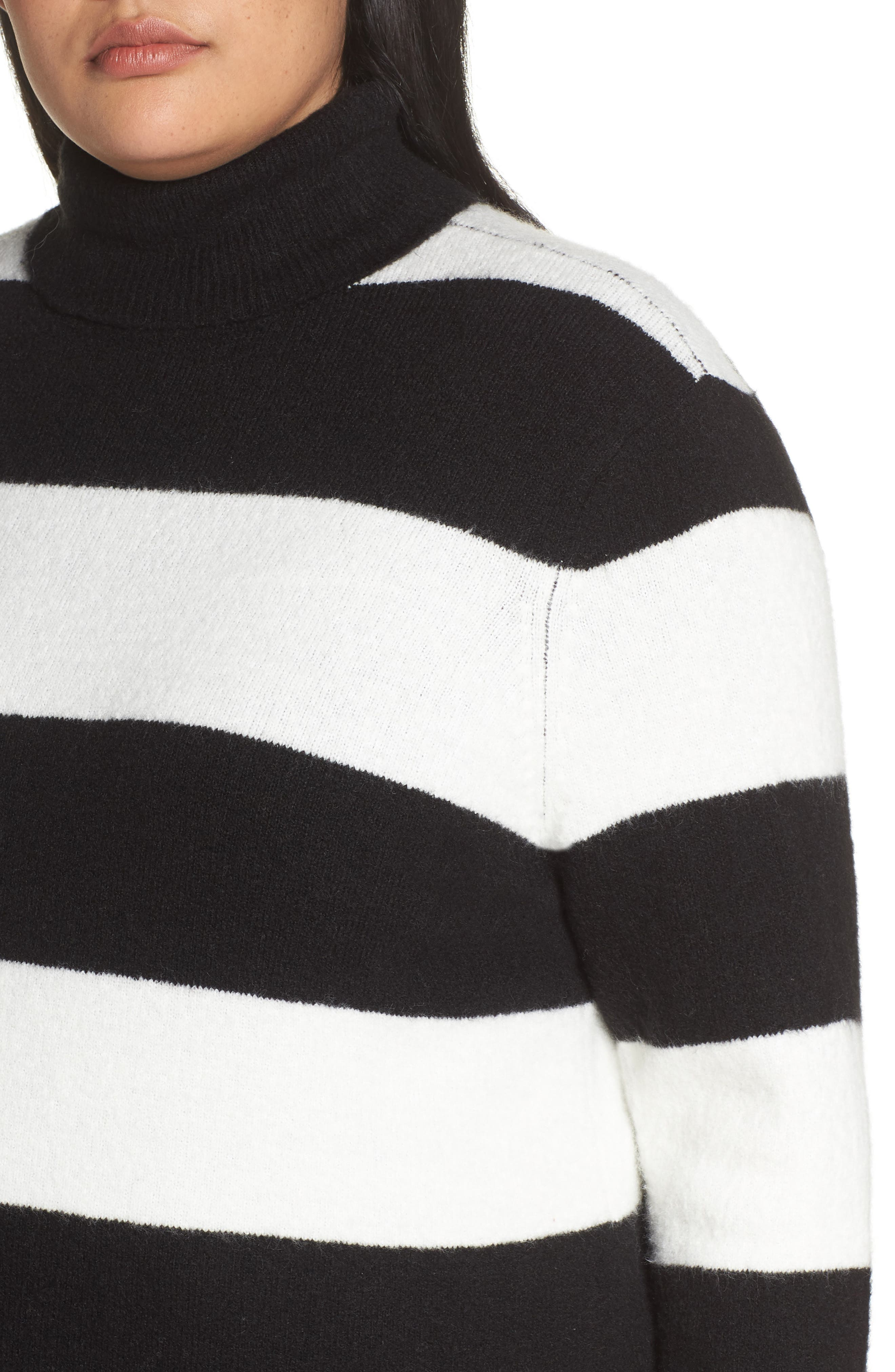 x Atlantic-Pacific Stripe Turtleneck Sweater,                             Alternate thumbnail 4, color,                             BLACK- IVORY STRIPE