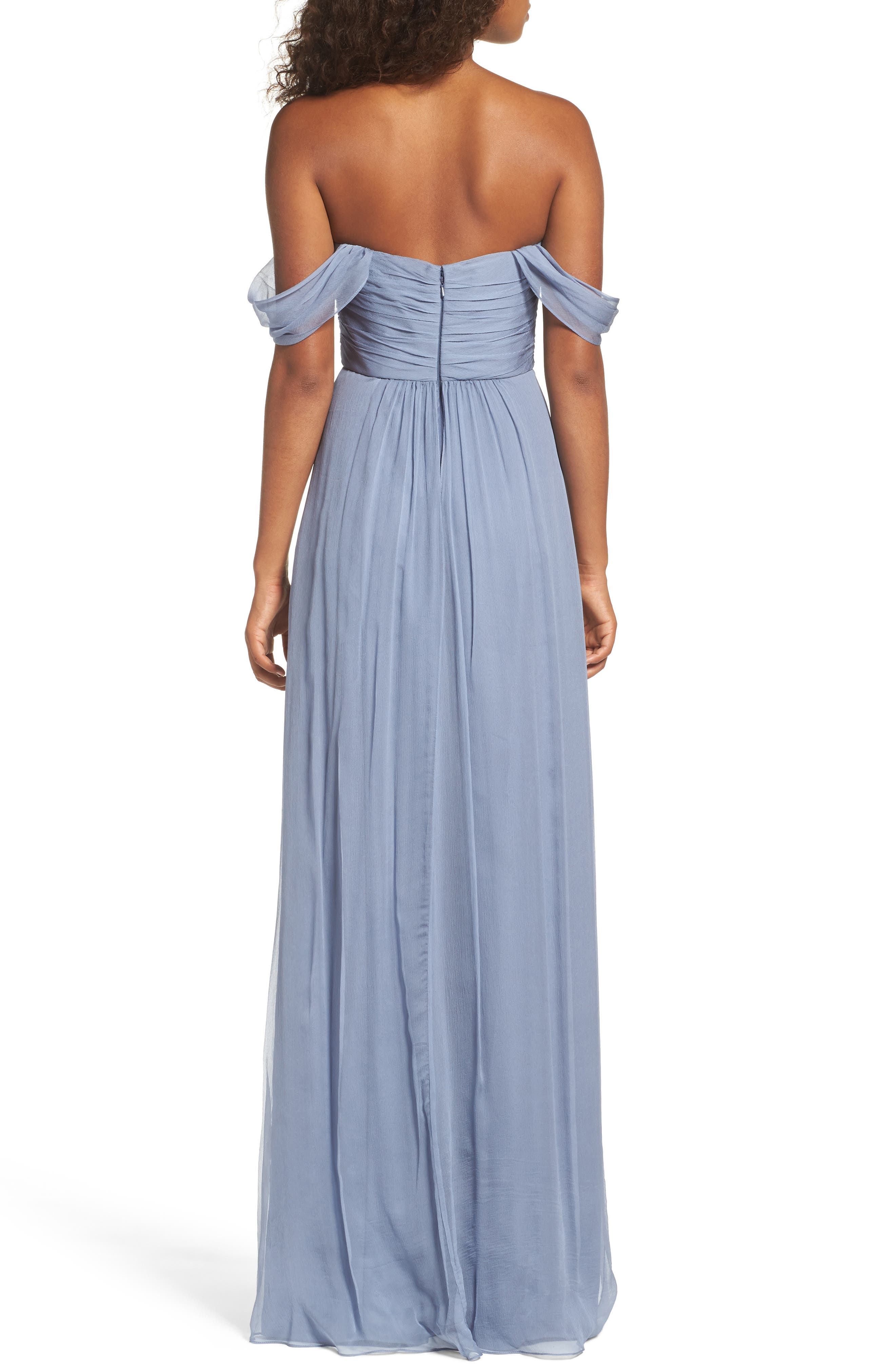 Convertible Crinkled Silk Chiffon Gown,                             Alternate thumbnail 2, color,                             022