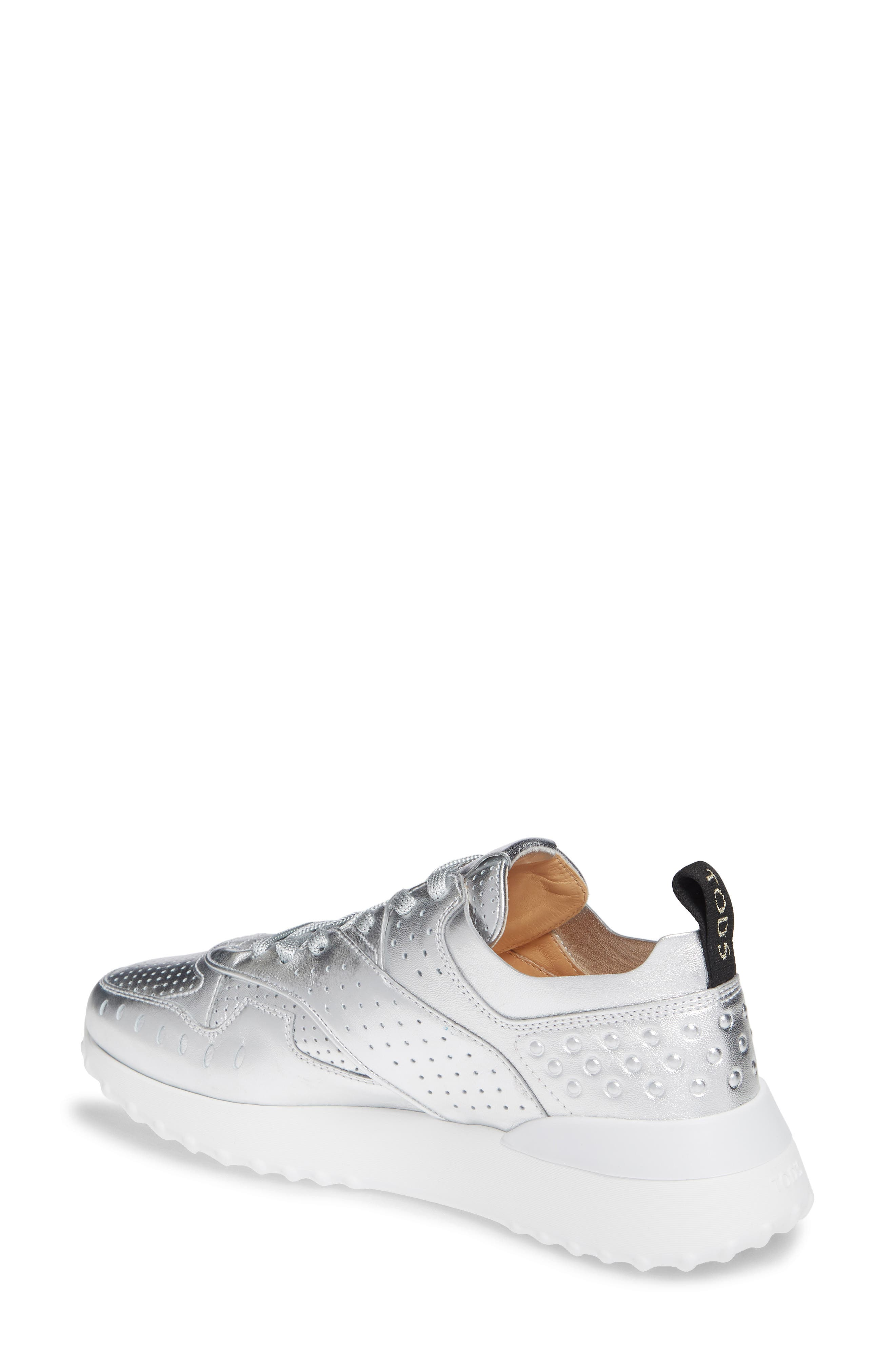 Perforated Lace-Up Sneaker,                             Alternate thumbnail 2, color,                             SILVER
