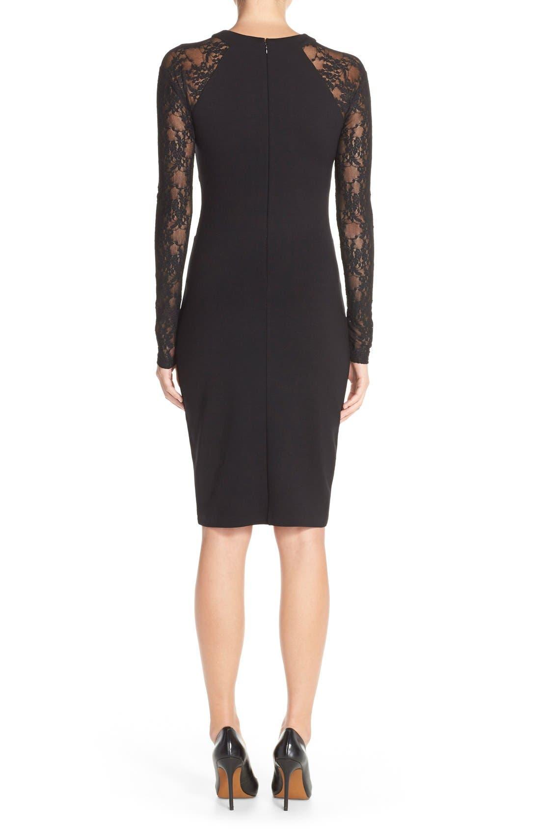 'Viven' Lace & Jersey Sheath Dress,                             Alternate thumbnail 6, color,                             001
