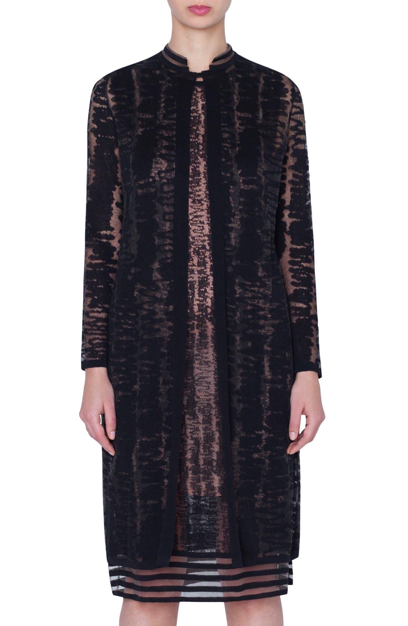 Scribble Jacquard Long Linen Blend Cardigan, Main, color, BLACK
