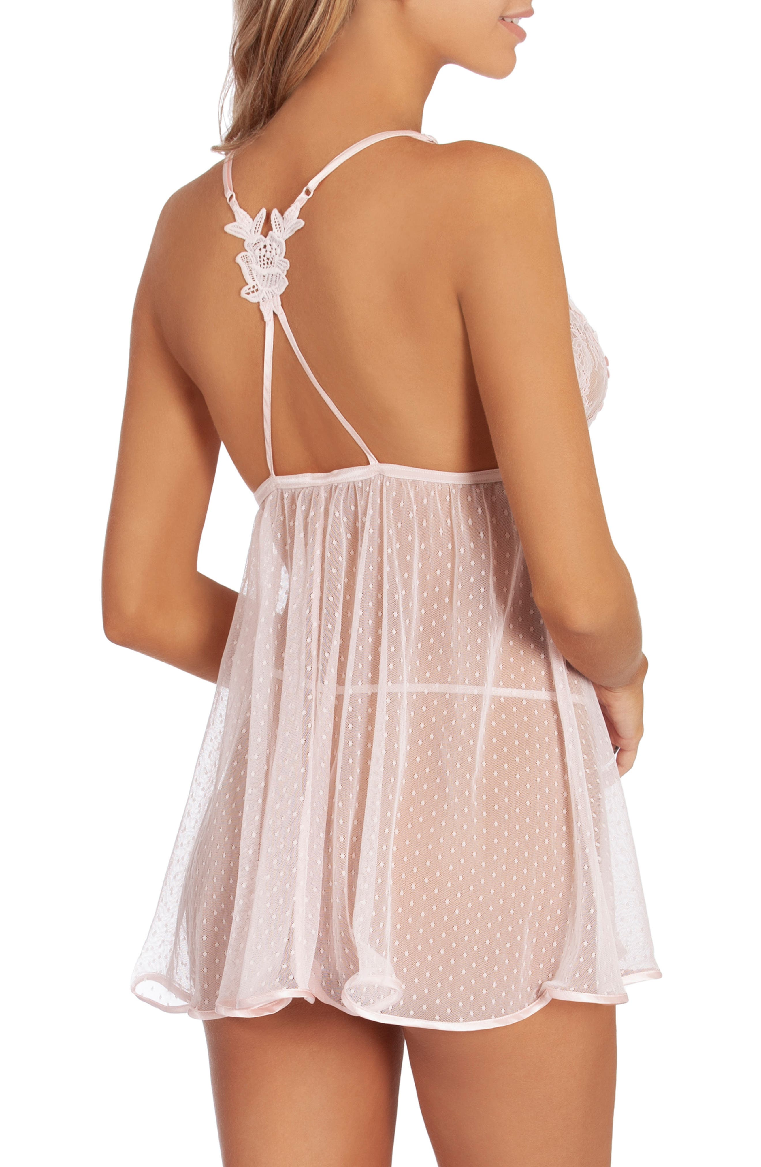 IN BLOOM BY JONQUIL,                             Lace Babydoll & Thong,                             Alternate thumbnail 2, color,                             ALABASTER PINK