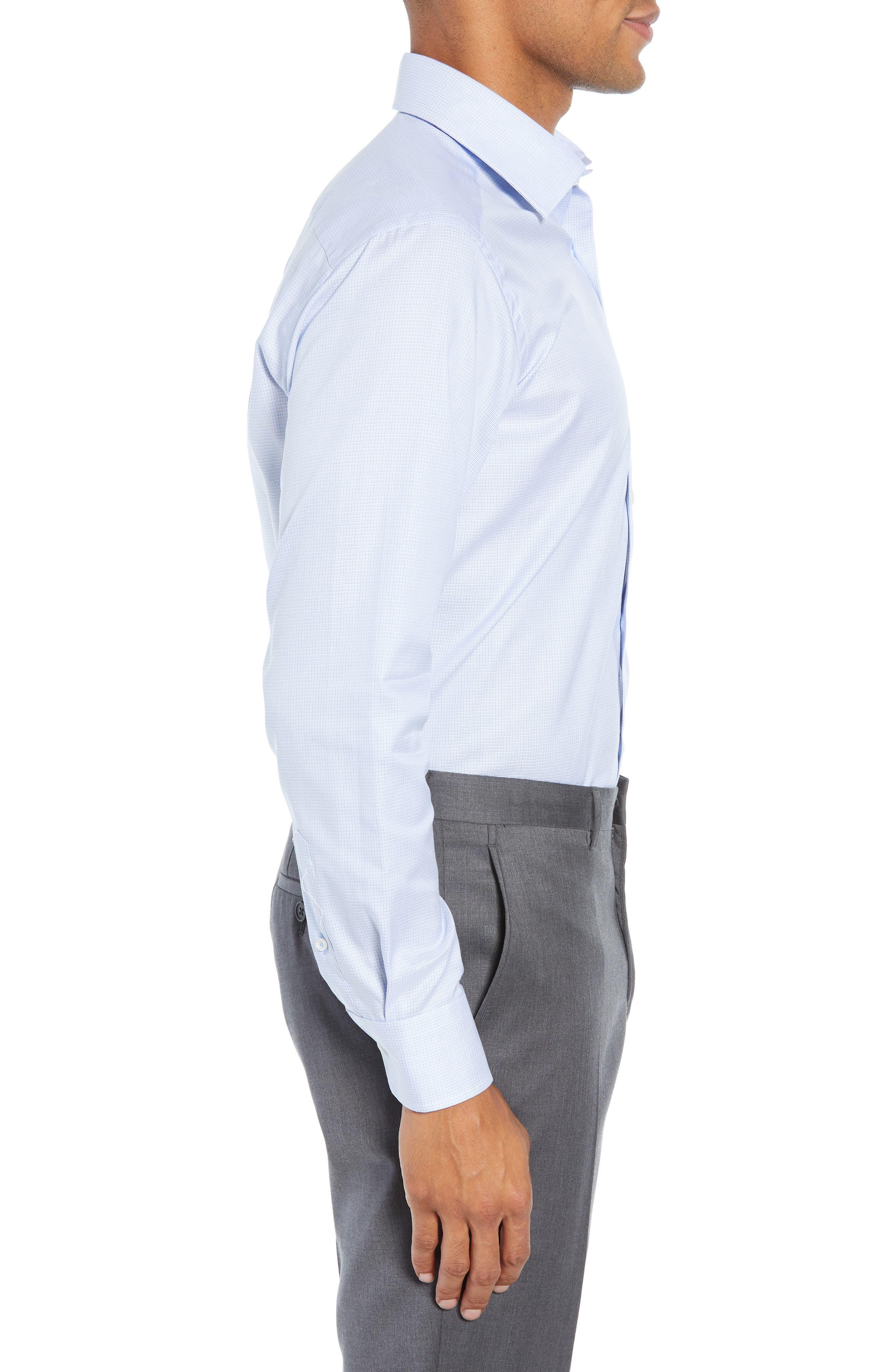 Slim Fit Micro Pattern Dress Shirt,                             Alternate thumbnail 4, color,                             BLUE
