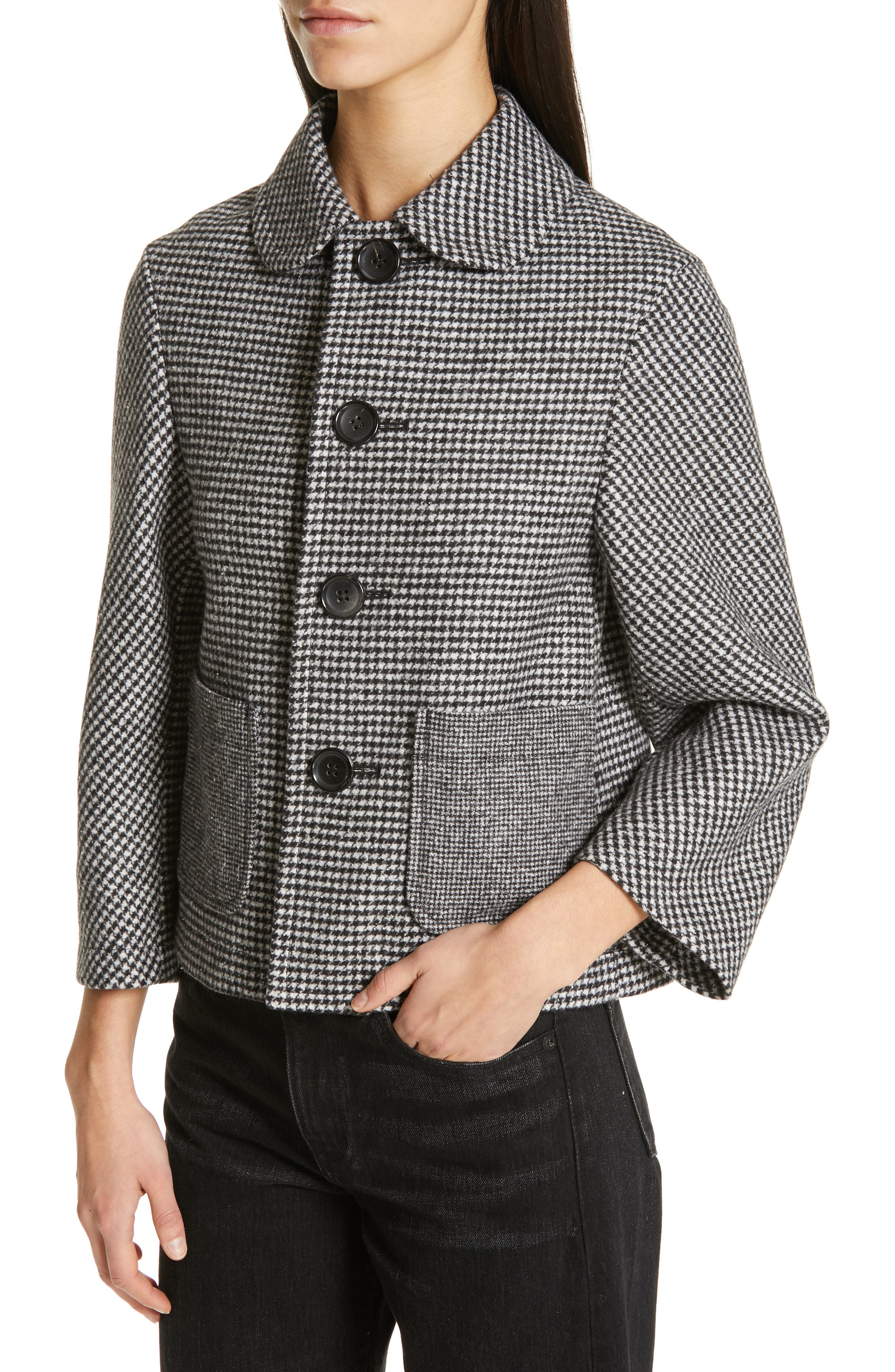 Houndstooth Crop Jacket,                             Alternate thumbnail 4, color,                             LARGE X SMALL