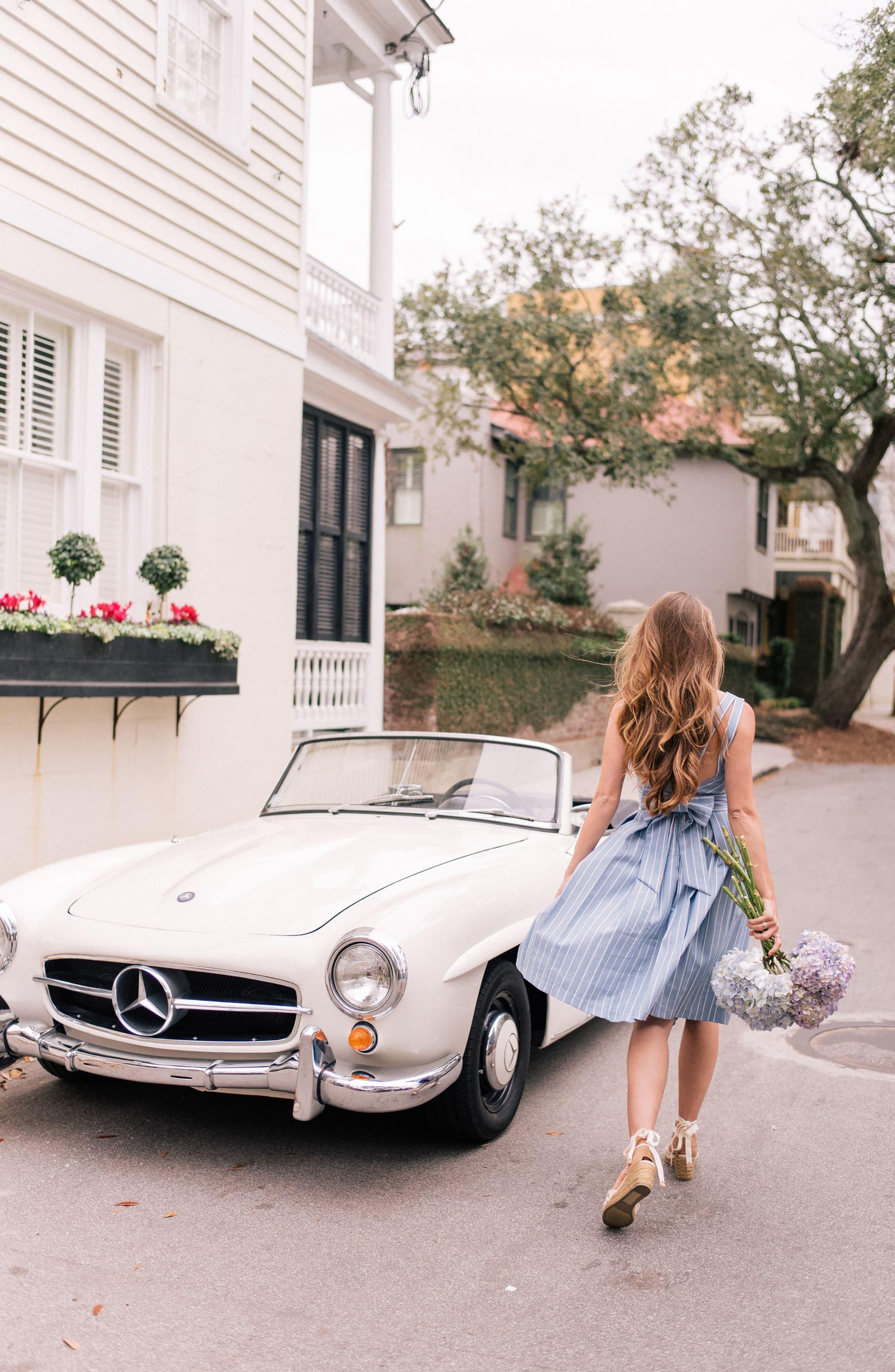 Samantha Slub Stripe Fit & Flare Dress,                             Alternate thumbnail 10, color,                             460