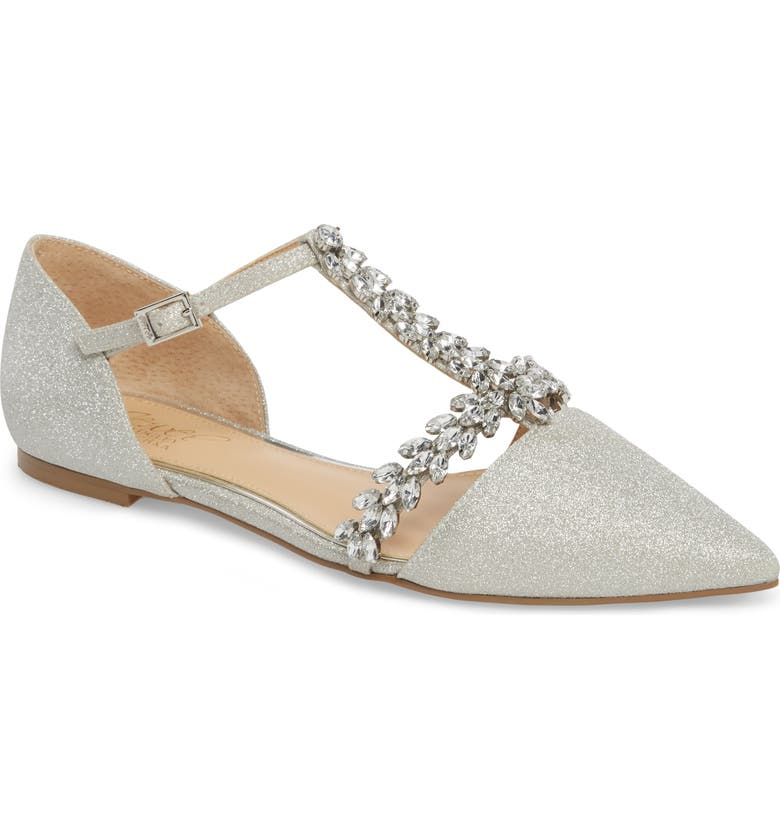 Find the perfect Jewel Badgley Mischka Maury Embellished T-Strap Flat (Women) Price & Reviews