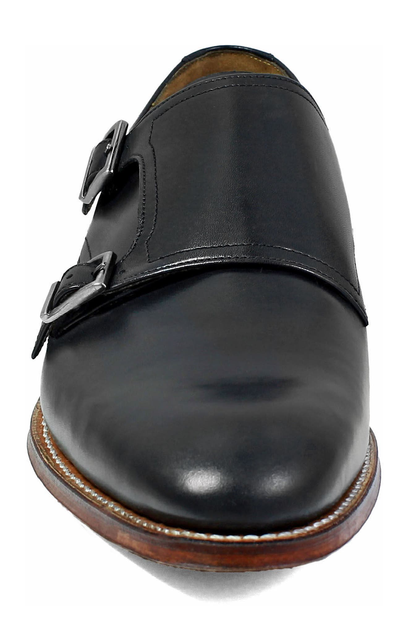 M2 Plain Toe Double Strap Monk Shoe,                             Alternate thumbnail 4, color,                             BLACK LEATHER