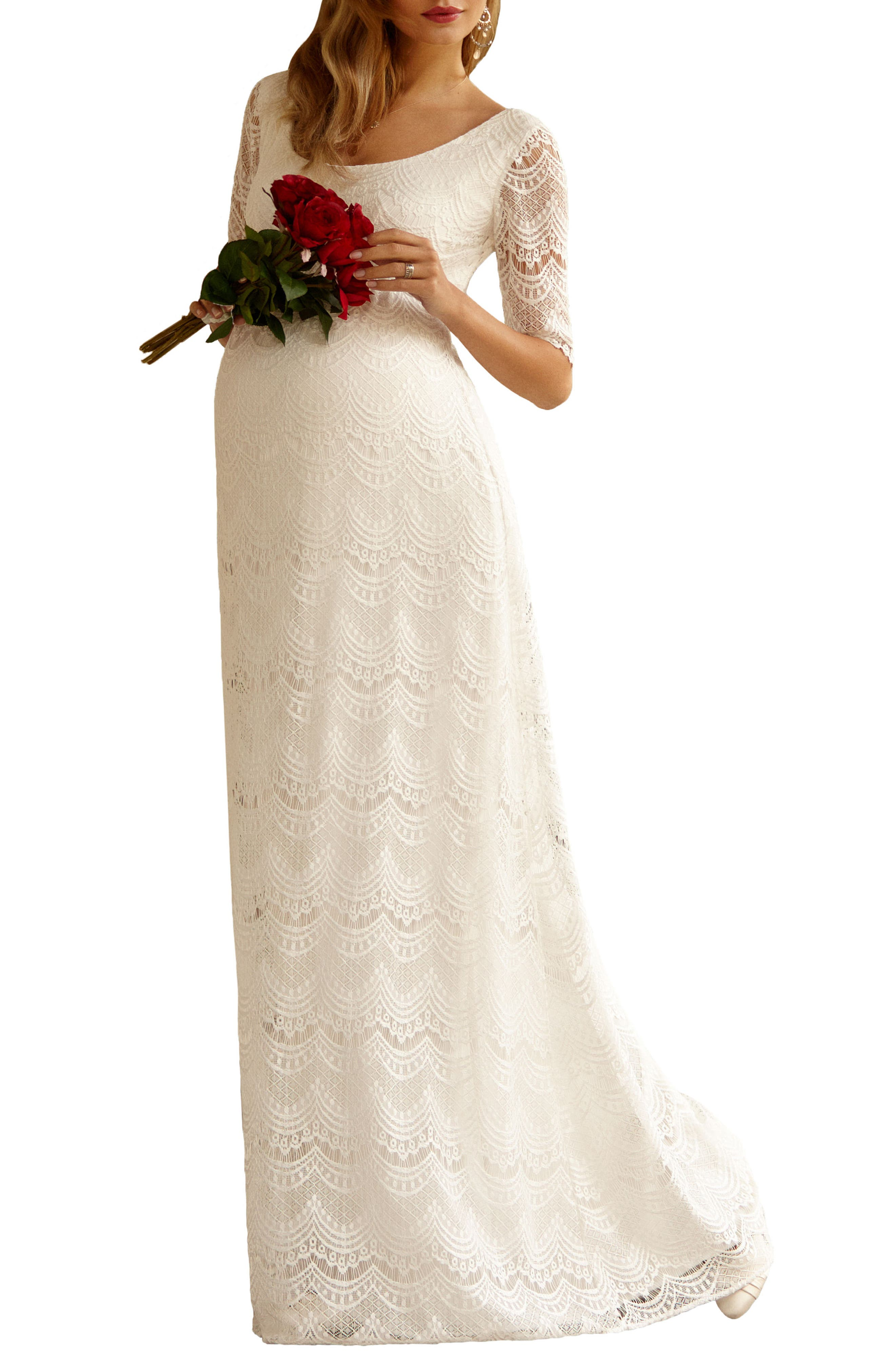 Verona Maternity Gown,                         Main,                         color, BRIGHT IVORY