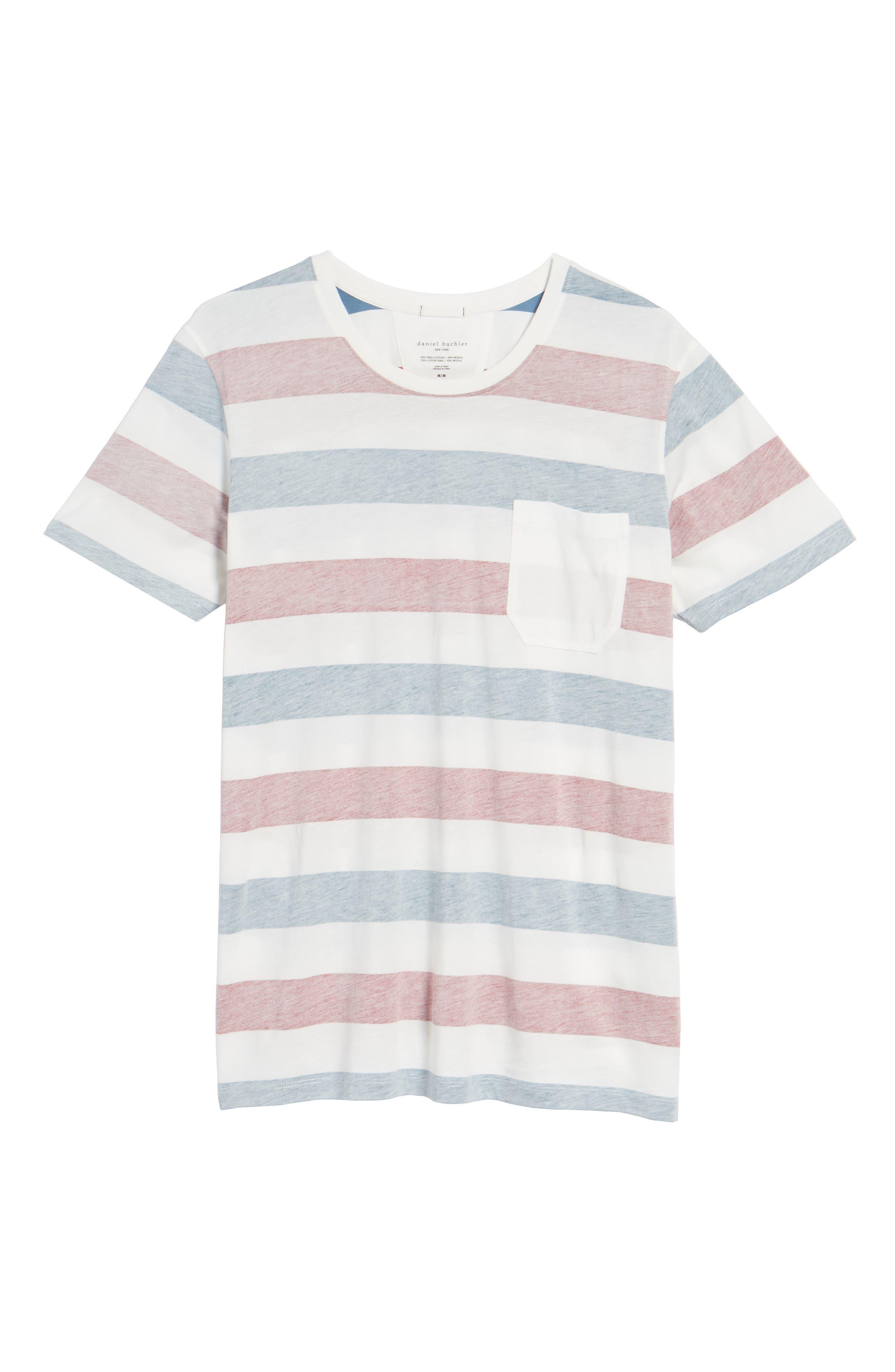 Reverse Stripe Pima Cotton & Modal Crewneck T-Shirt,                             Alternate thumbnail 6, color,