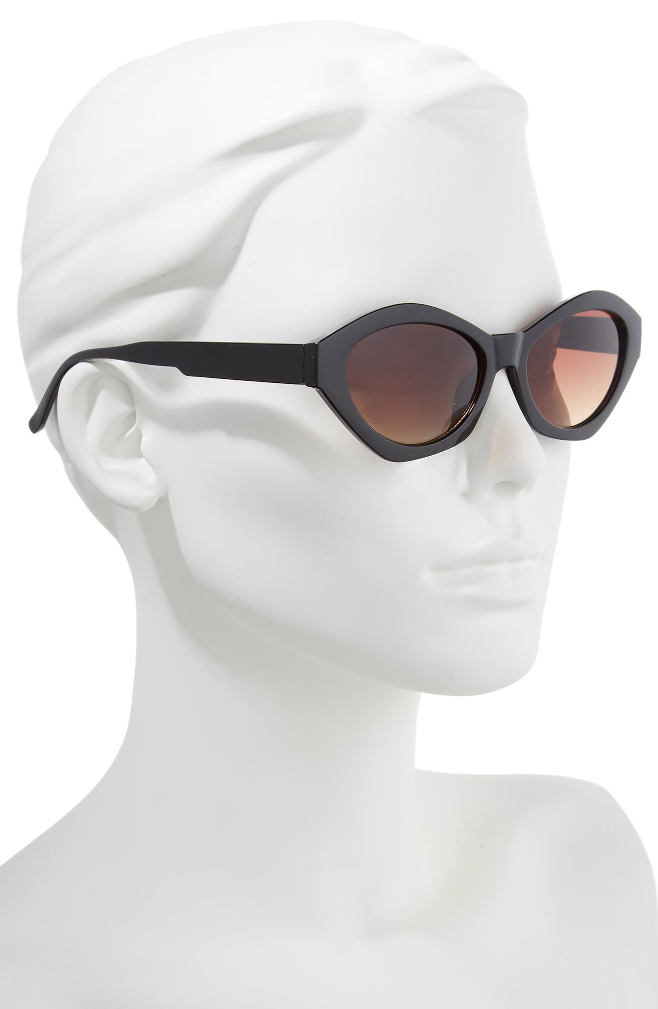 58mm Curved Cat Eye Sunglasses,                             Alternate thumbnail 2, color,                             001