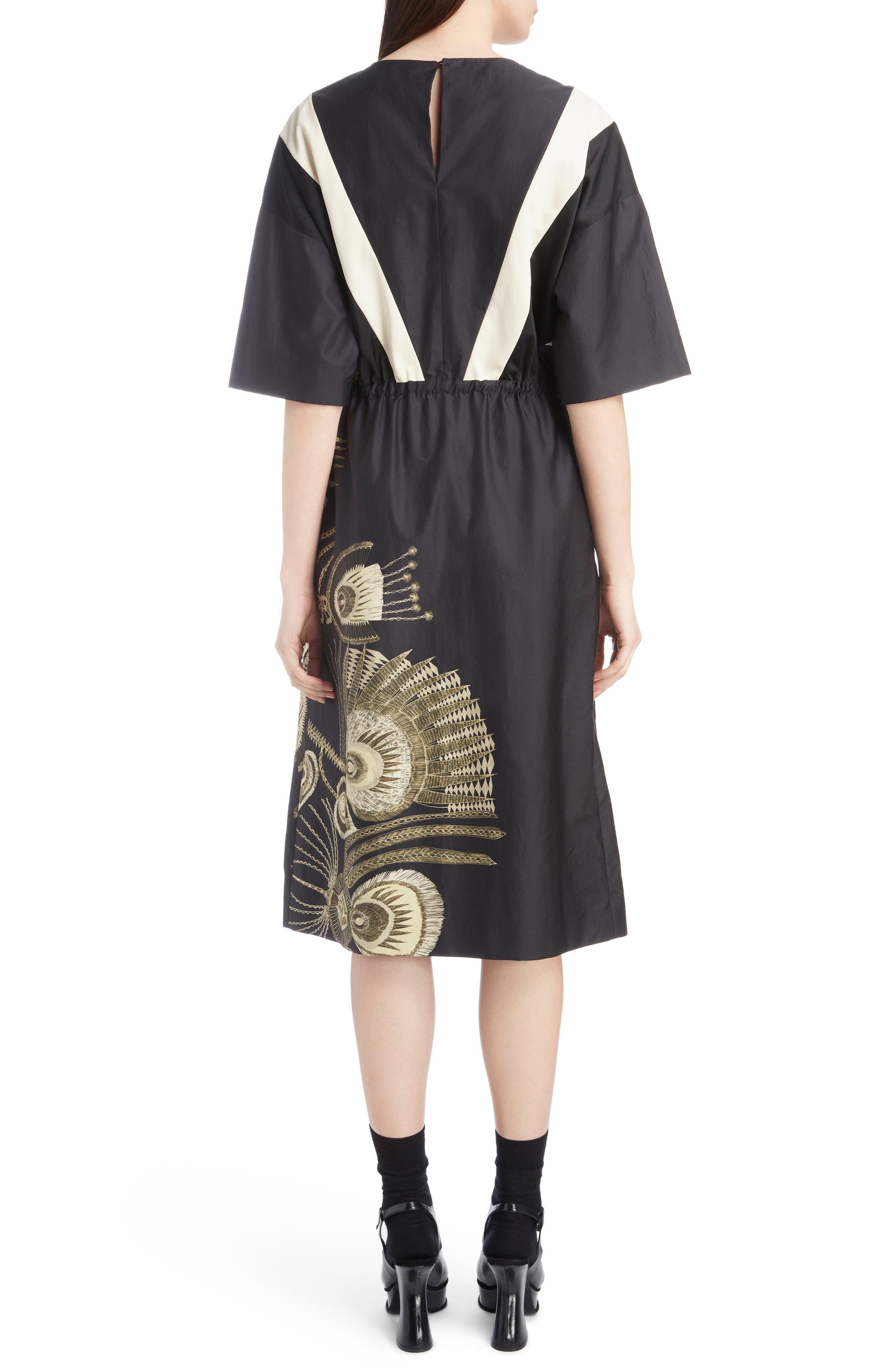 Placed Print Poplin Dress,                             Alternate thumbnail 2, color,                             BLACK