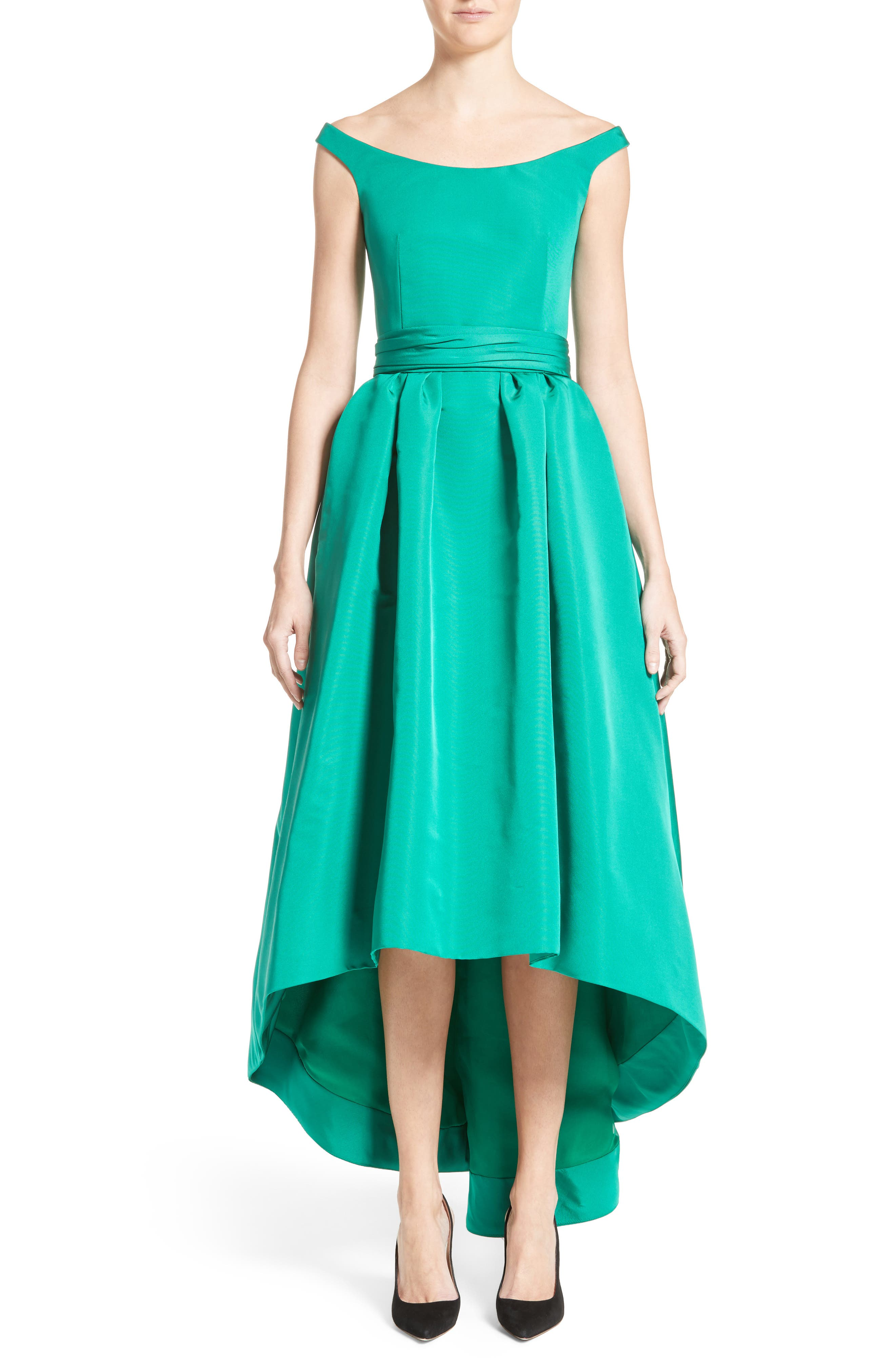 Off the Shoulder Silk Faille Gown,                             Alternate thumbnail 6, color,                             300
