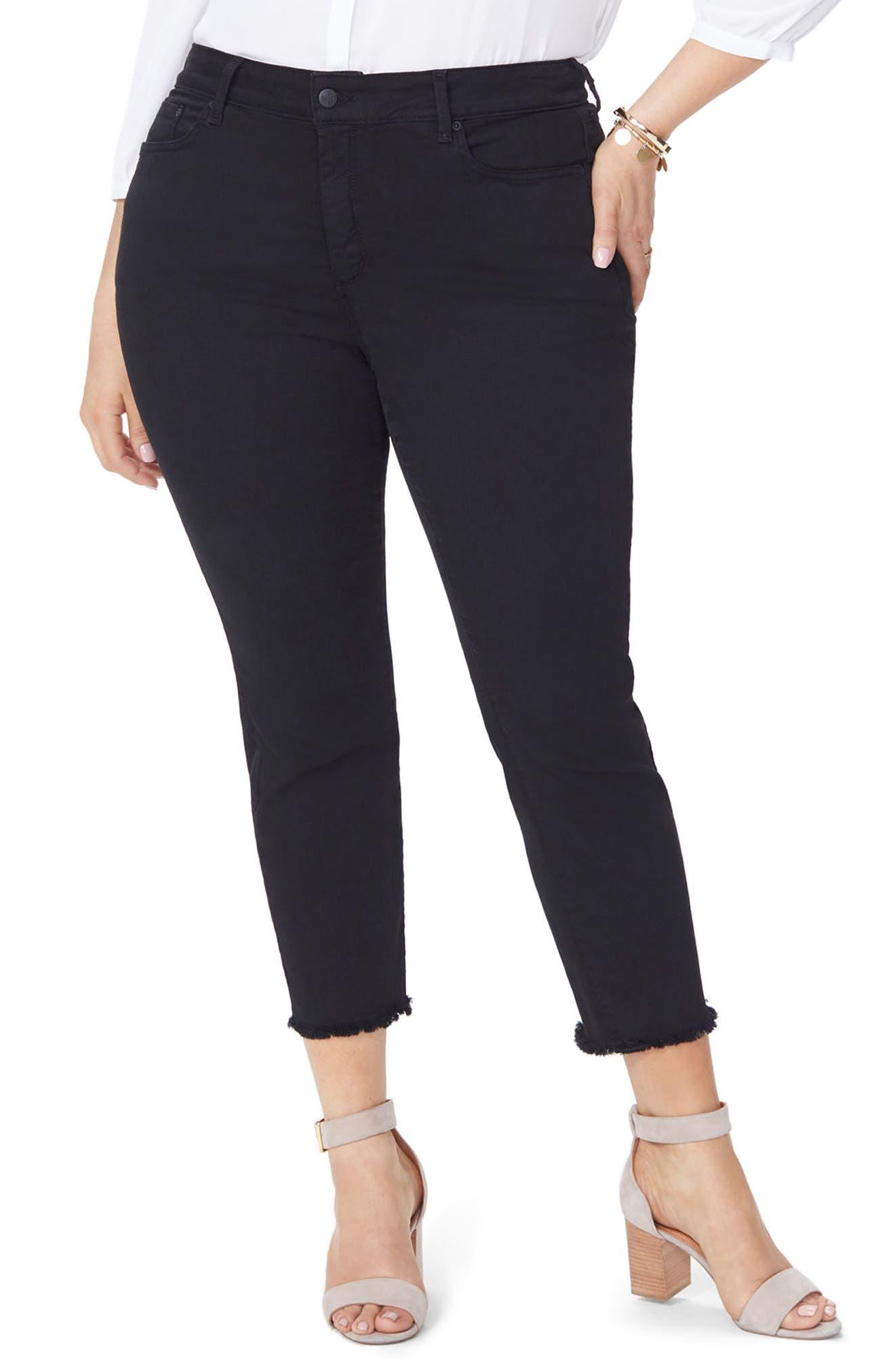 Sheri High Rise Fray Hem Stretch Slim Ankle Jeans,                             Main thumbnail 1, color,                             BLACK