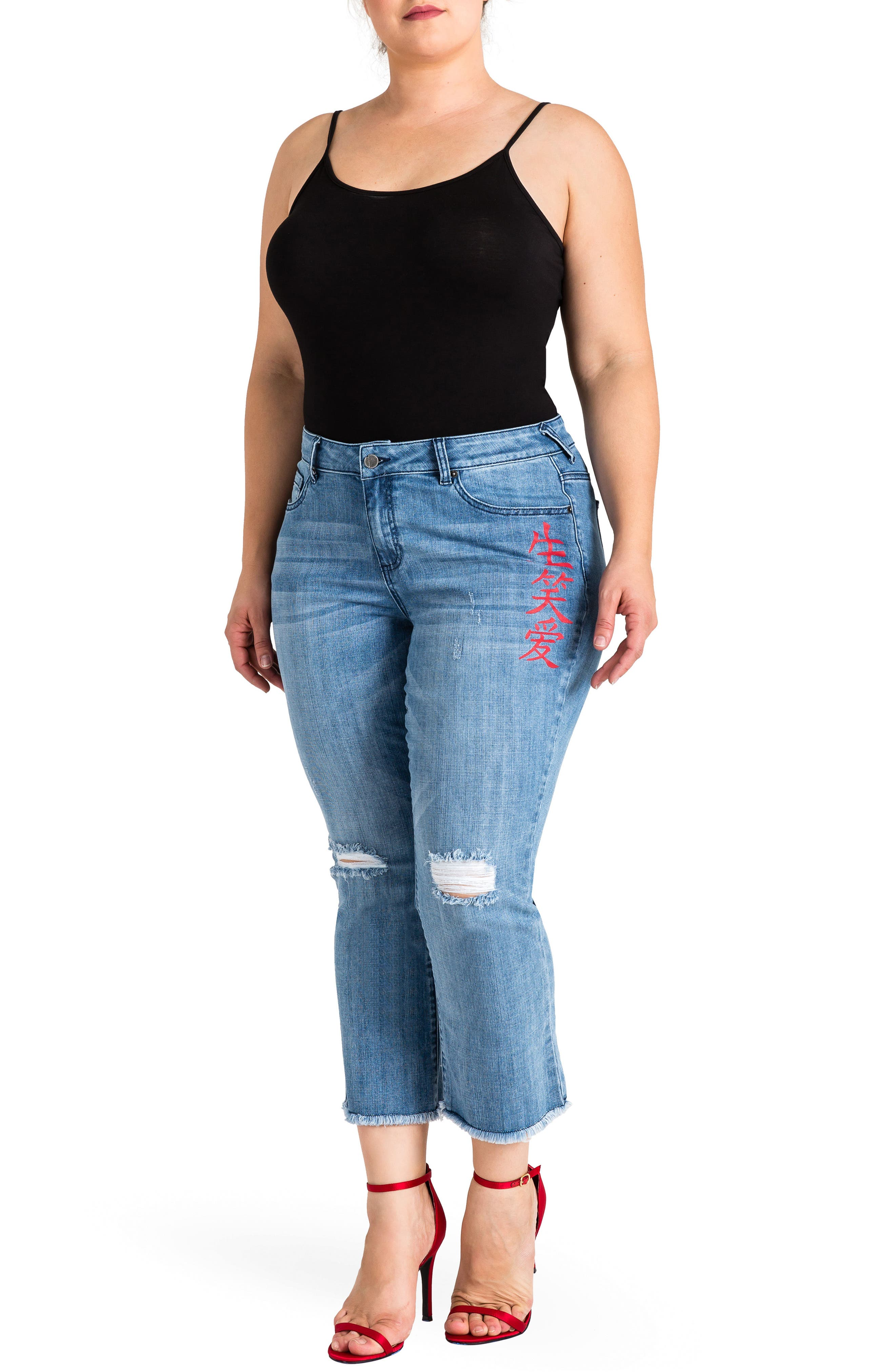 Frayed Crop Flare Jeans,                             Alternate thumbnail 4, color,                             LIGHT BLUE