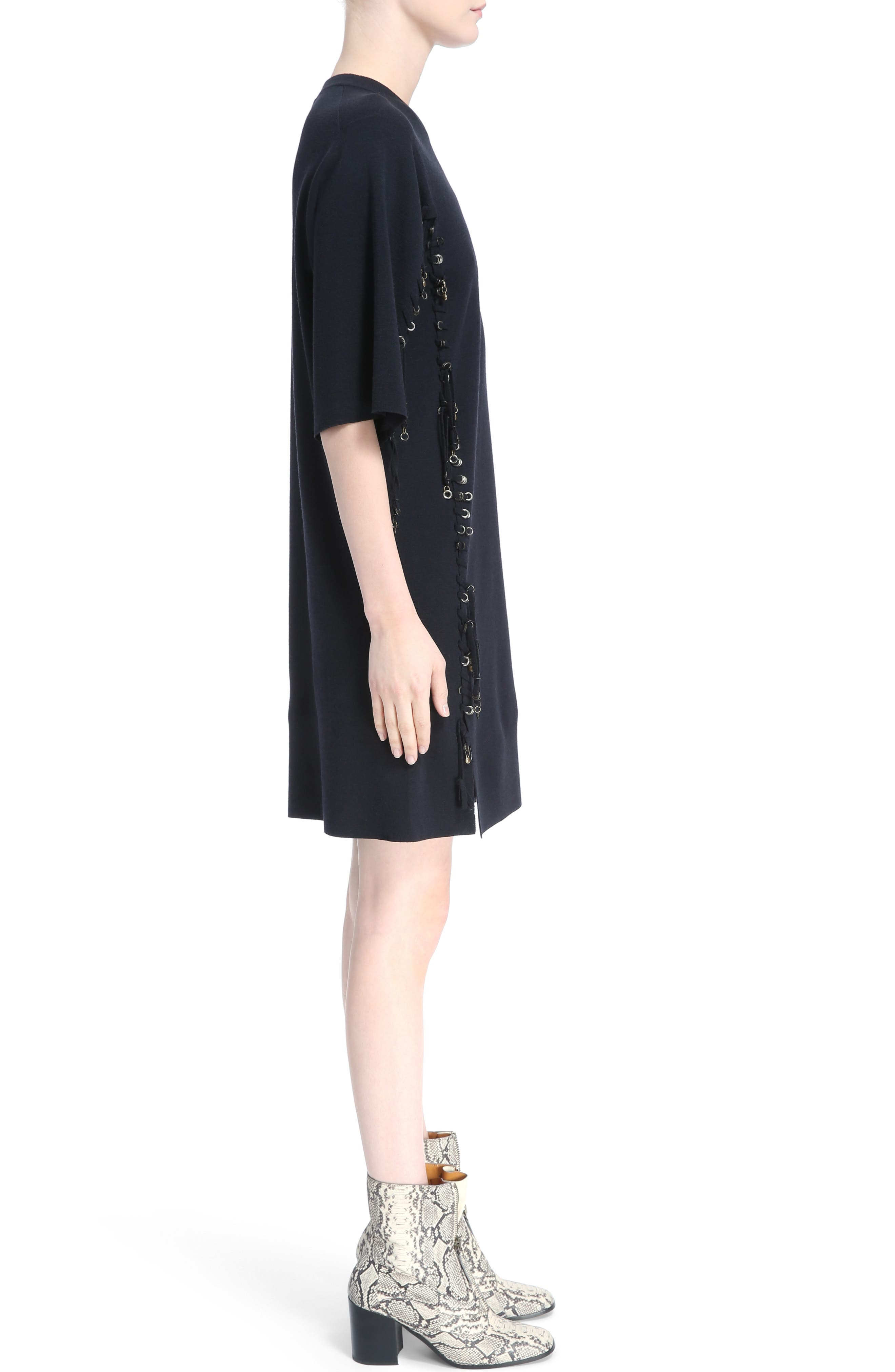 Laced Grommet Wool Dress,                             Alternate thumbnail 3, color,                             410