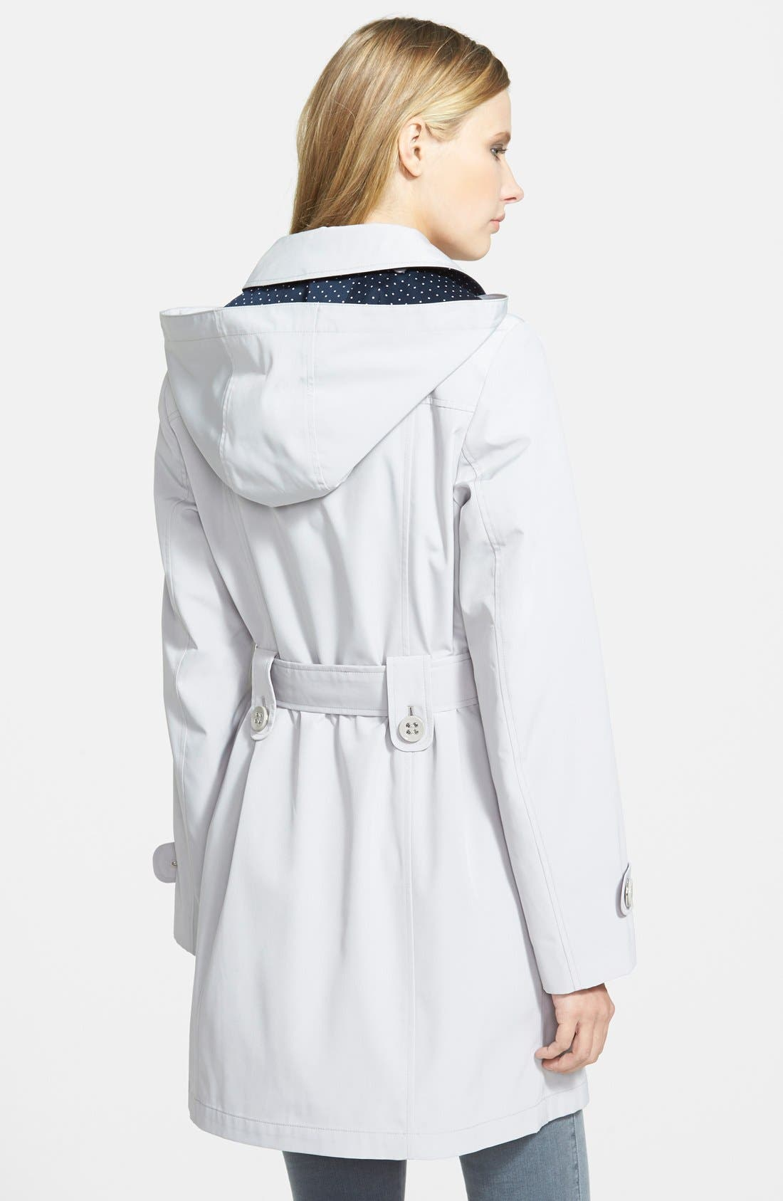 GALLERY,                             Polka Dot Trim Single Breasted Trench Coat,                             Alternate thumbnail 3, color,                             021
