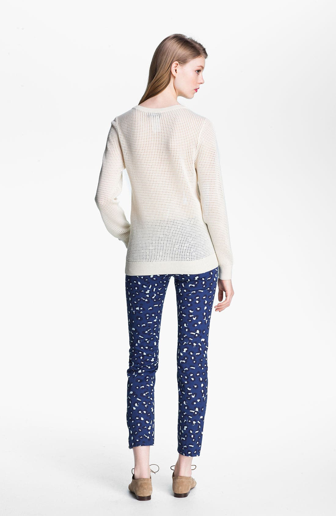 Perforated Wool Sweater,                             Alternate thumbnail 3, color,