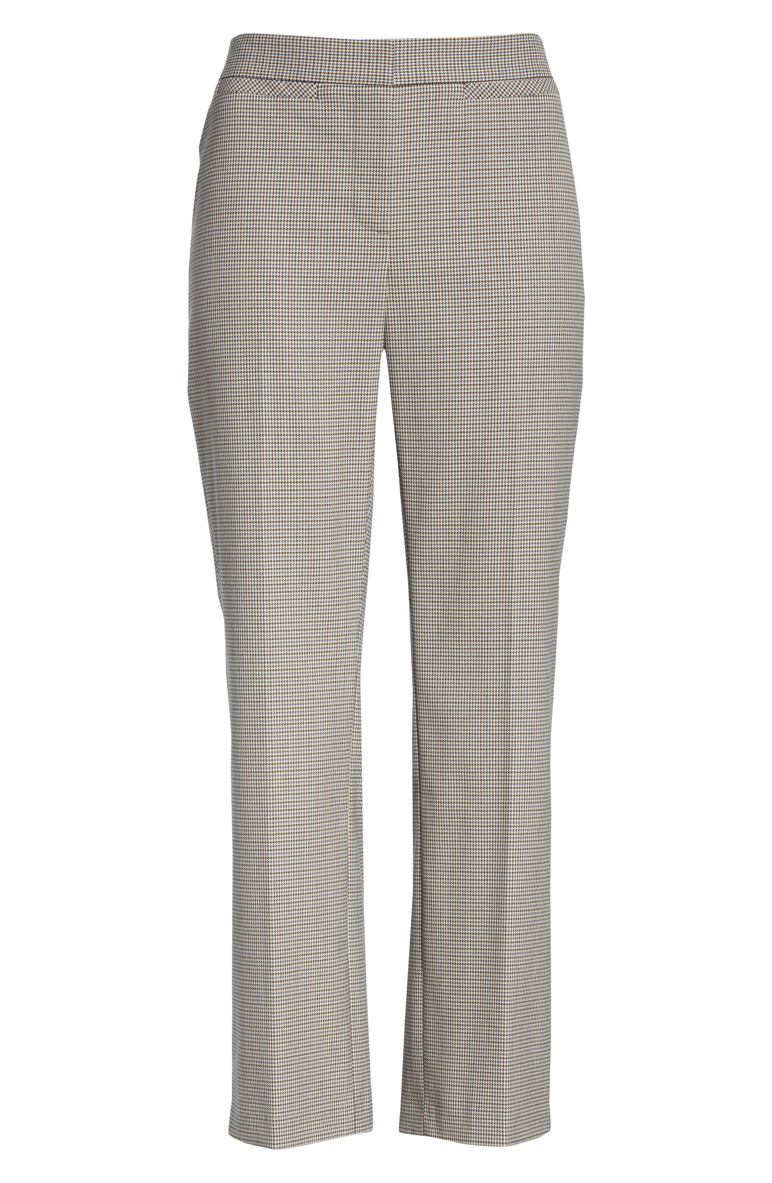 Check Flare Leg Crop Pants,                             Alternate thumbnail 6, color,                             IVORY DOGTOOTH WEAVE