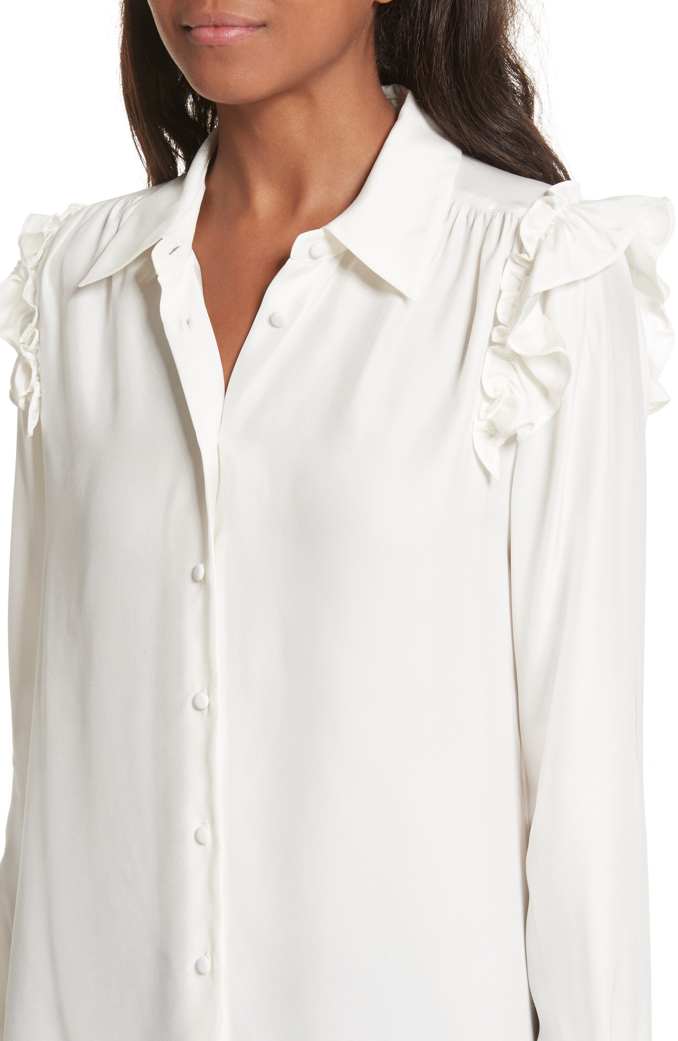 Silk Ruffle Sleeve Blouse,                             Alternate thumbnail 4, color,