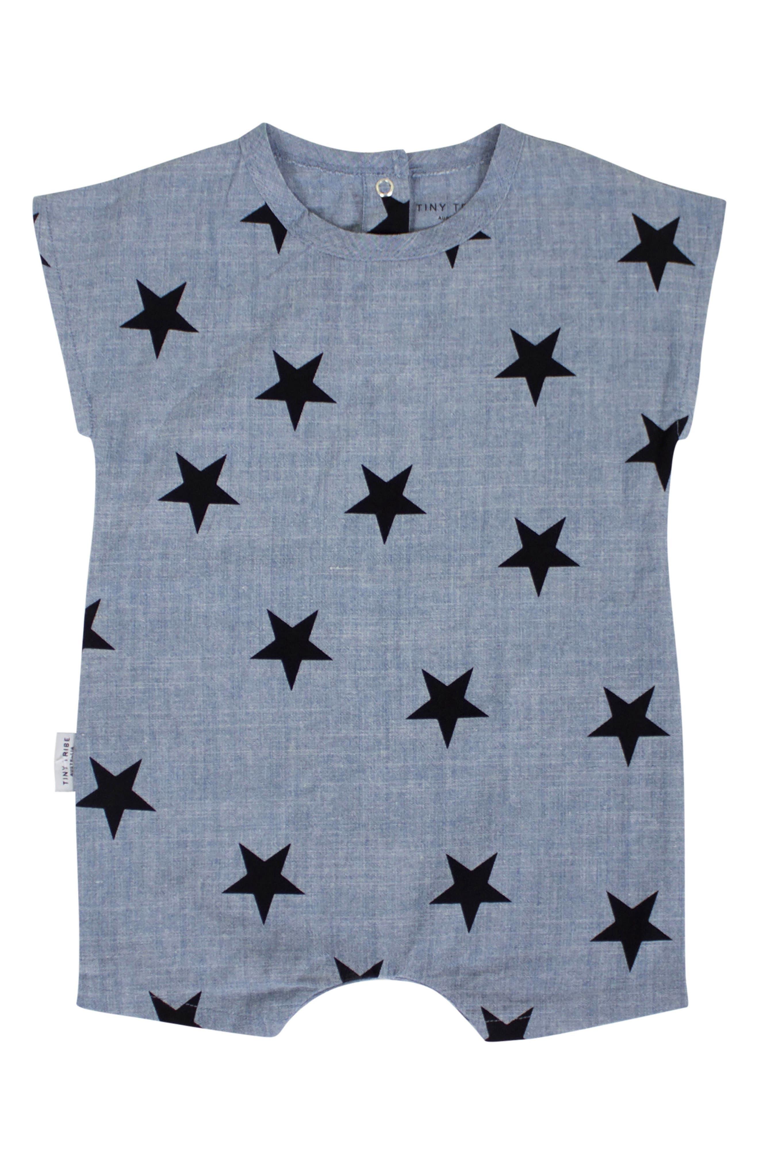 Chambray Star Romper,                         Main,                         color, 400