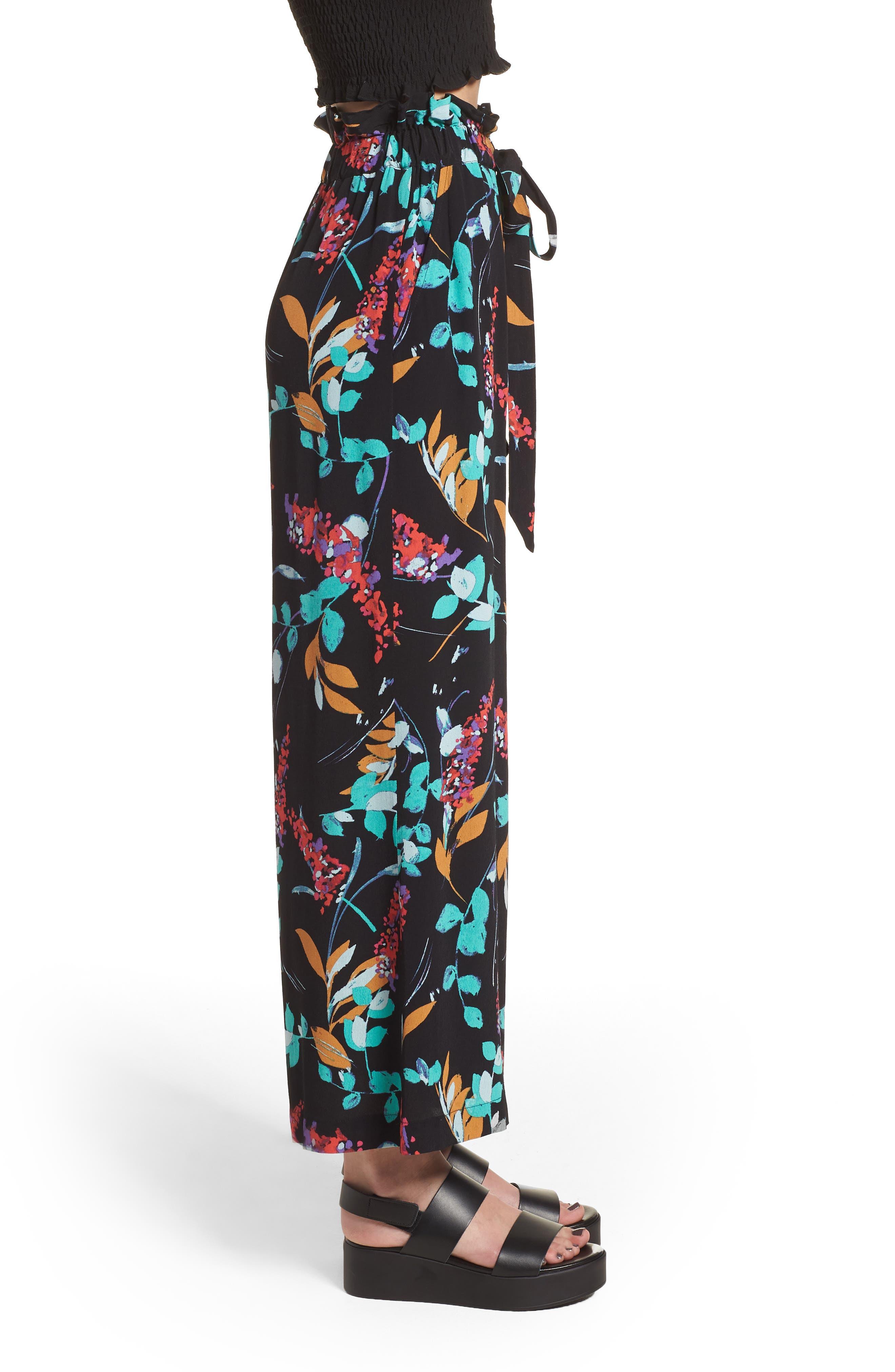 Floral Paperbag Waist Pants,                             Alternate thumbnail 3, color,