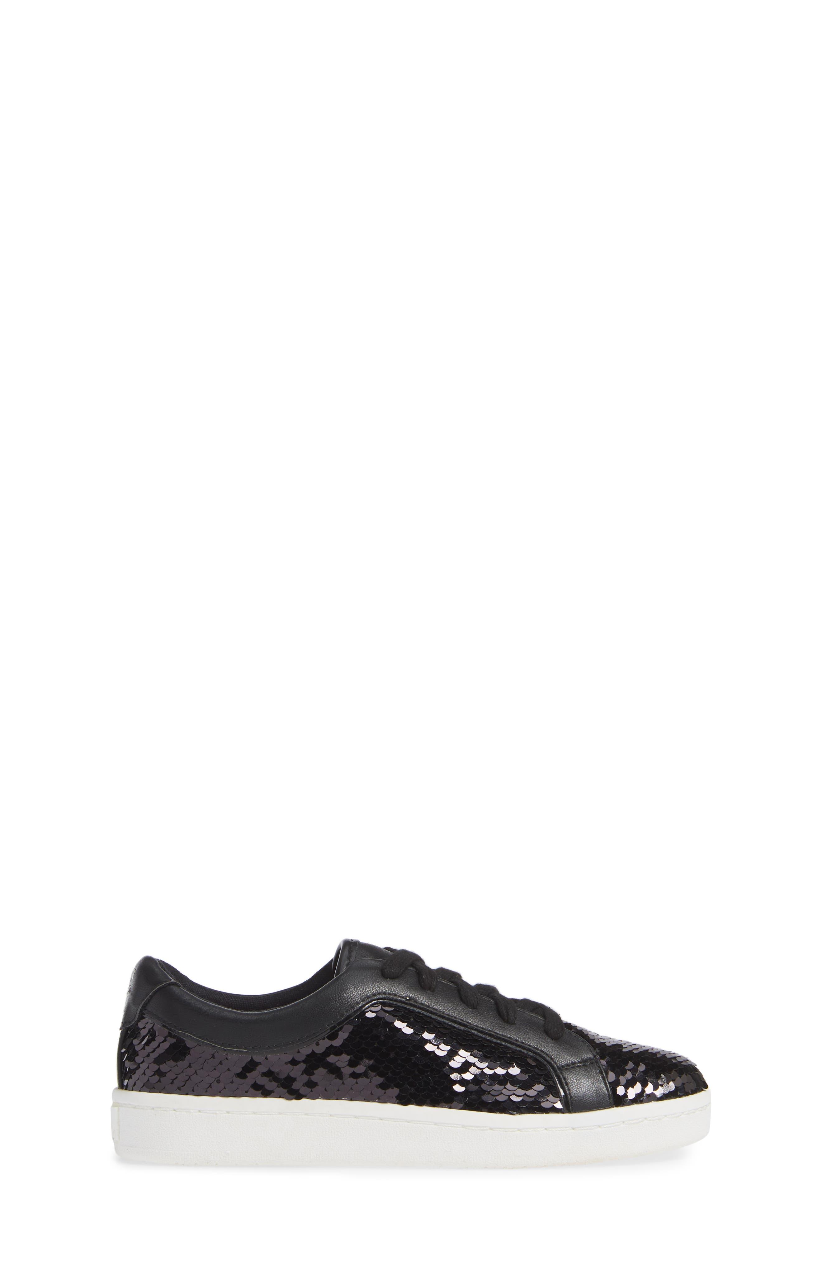 Blane Elizia Sequin Sneaker,                             Alternate thumbnail 3, color,                             BLACK SILVER