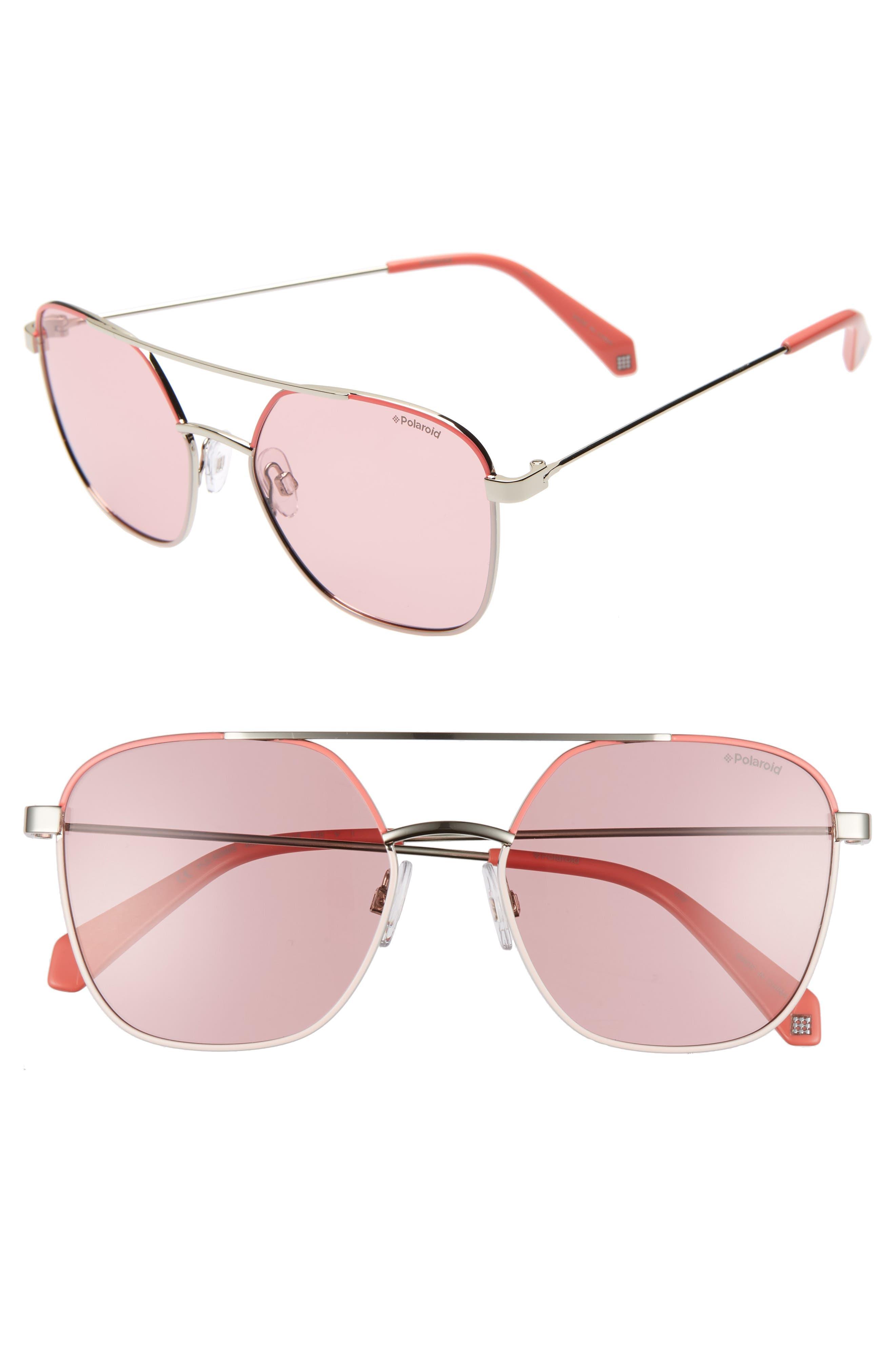 Polaroid 5m Polarized Square Aviator Sunglasses - Pink/ Silver