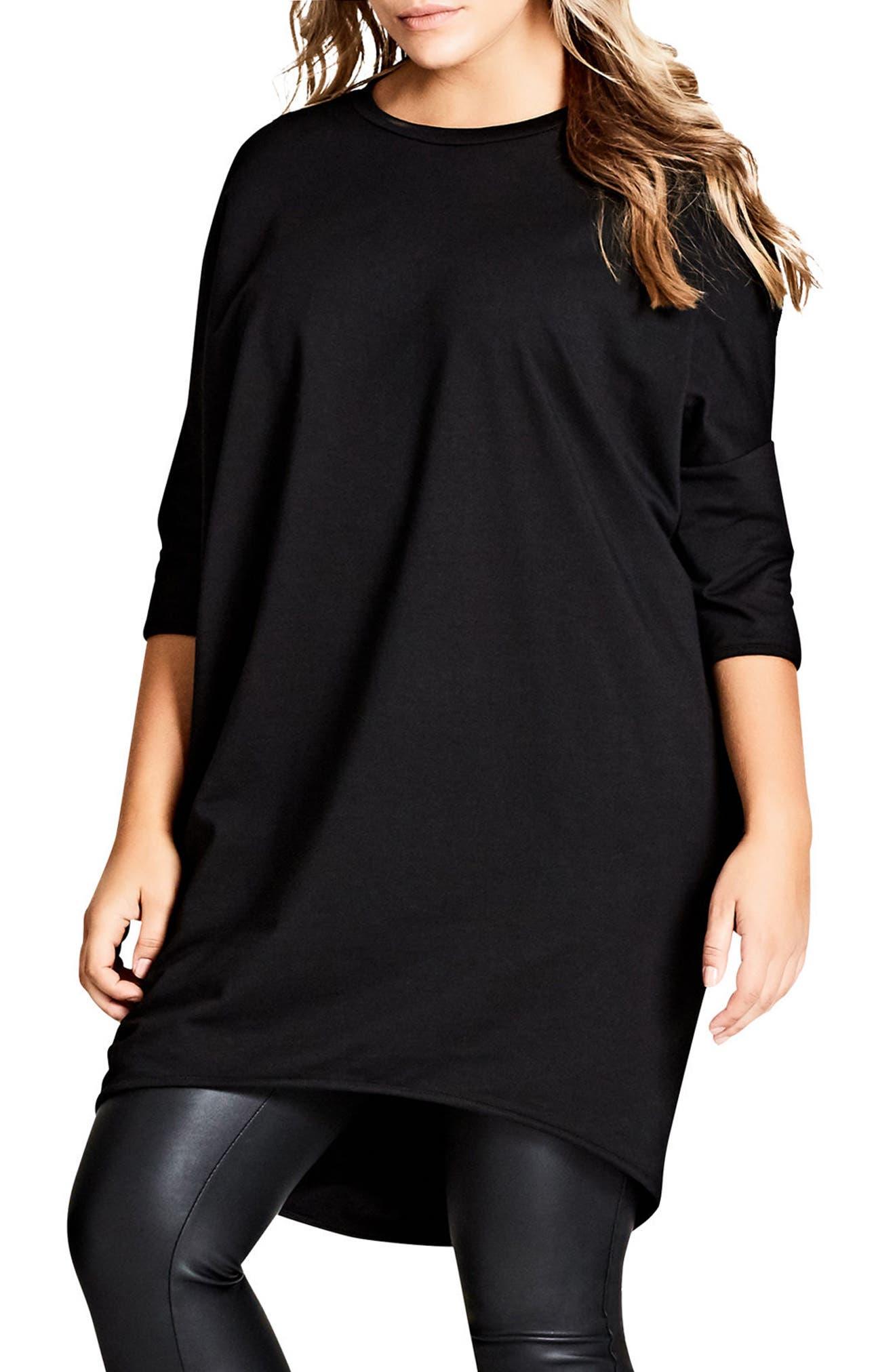 Oversize Knit Tee,                         Main,                         color, BLACK